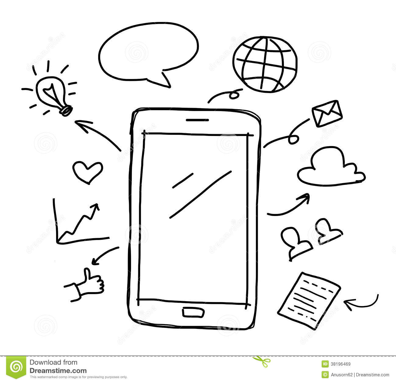 Http Www Dreamstime Com Royalty Free Stock Images Hand Drawing Smart Phone Social Media Concept Image38196469