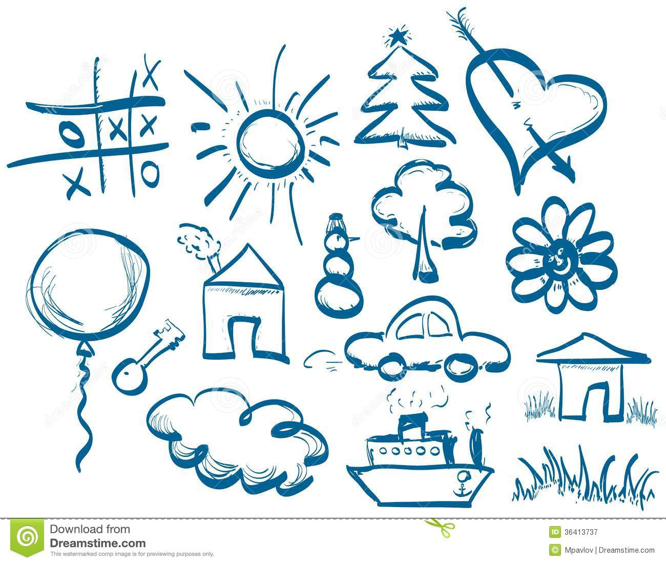 Hand drawing symbols set royalty free stock photography for Make doodle online