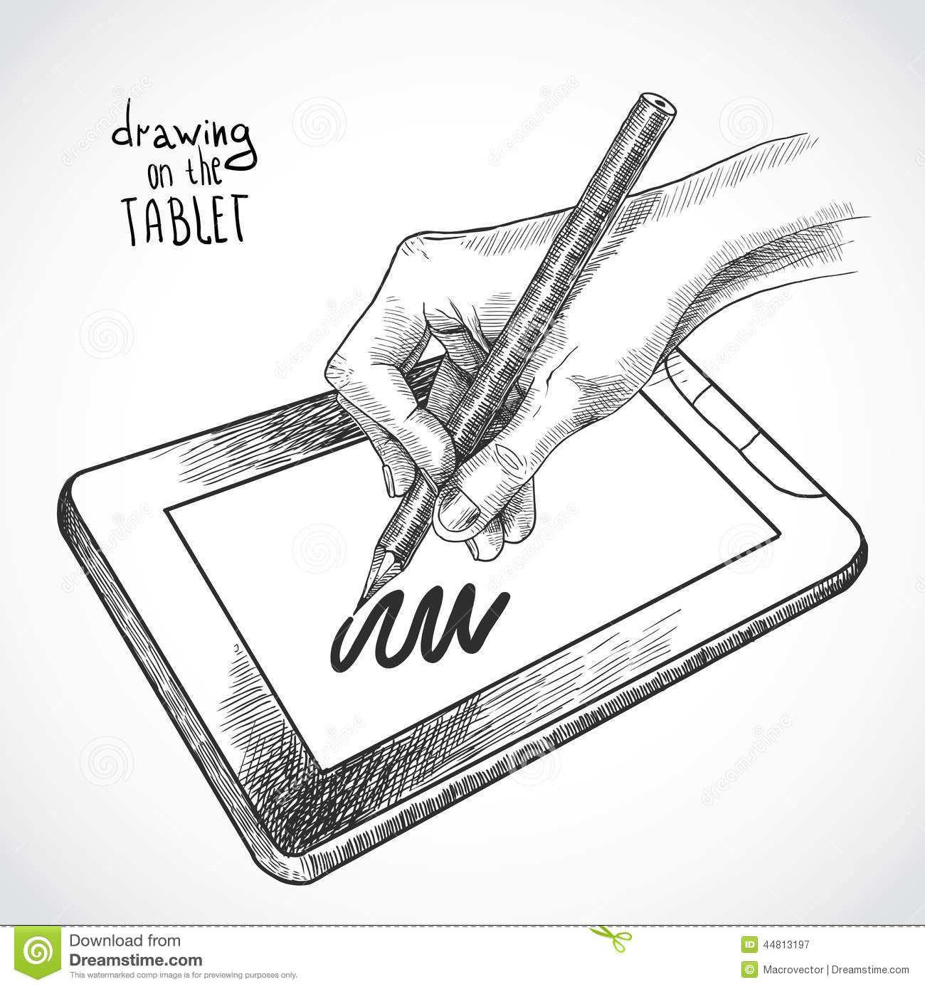 Drawing Lines With Tablet : Hand drawing on the tablet stock vector image