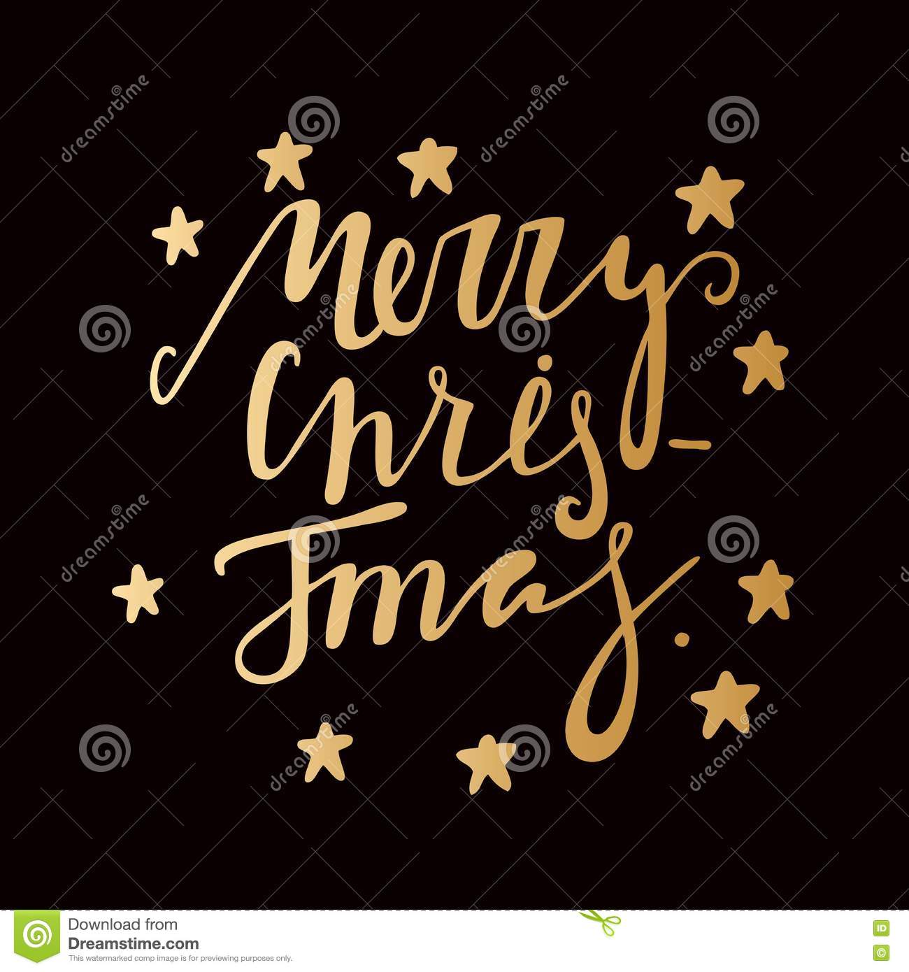 Hand Drawing Text For Merry Christmas Golden Letters Gold