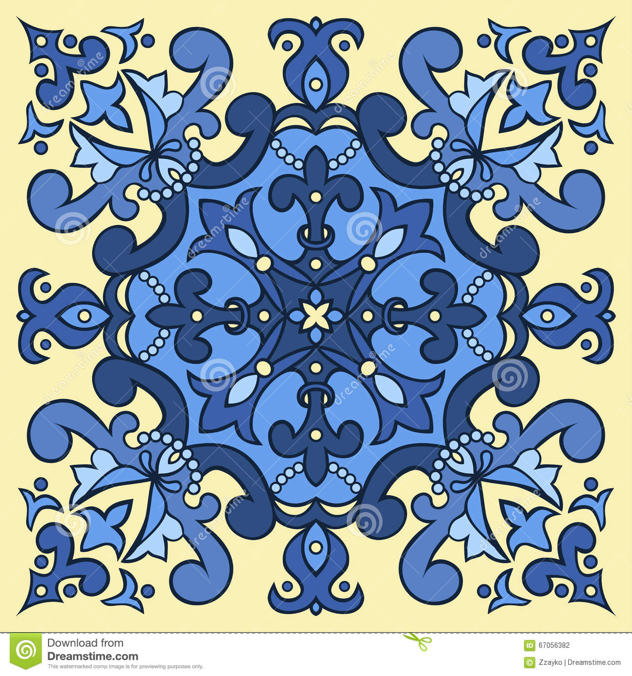 Hand Drawing Tile Pattern In Blue And Yellow Colors