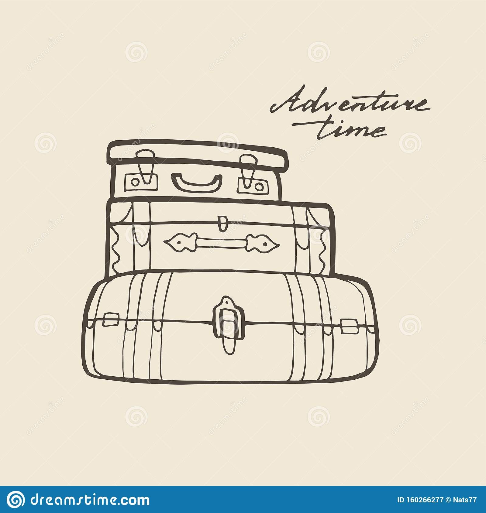 Hand Drawing Travel Bag Vector Line Hand Draw Illustration Stock Vector Illustration Of Board Journey 160266277