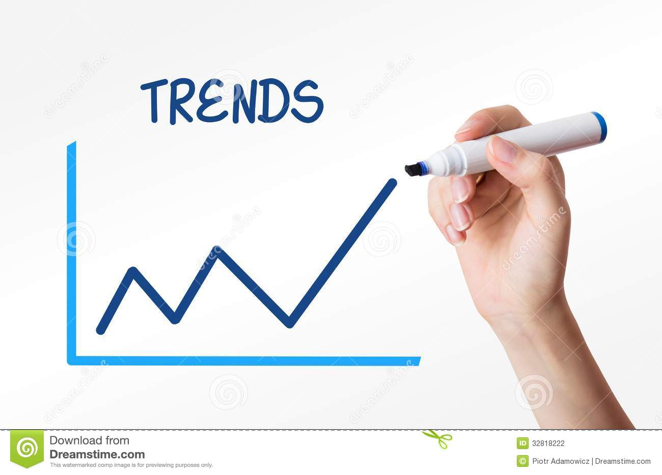 Hand Drawing A Trends Graph Stock Photo