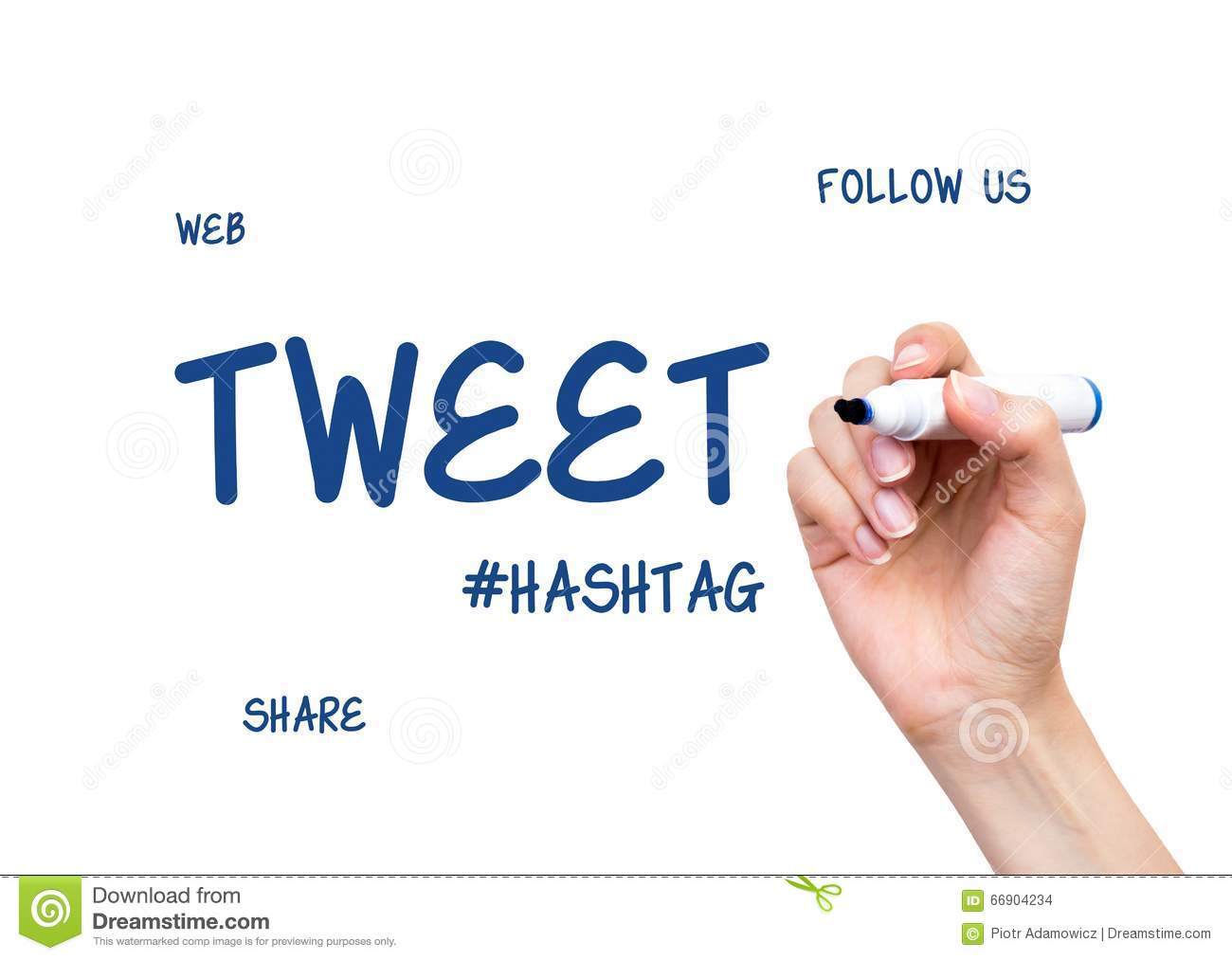 Hand Drawing Tweet Word Social Media Conception Stock Photo Image