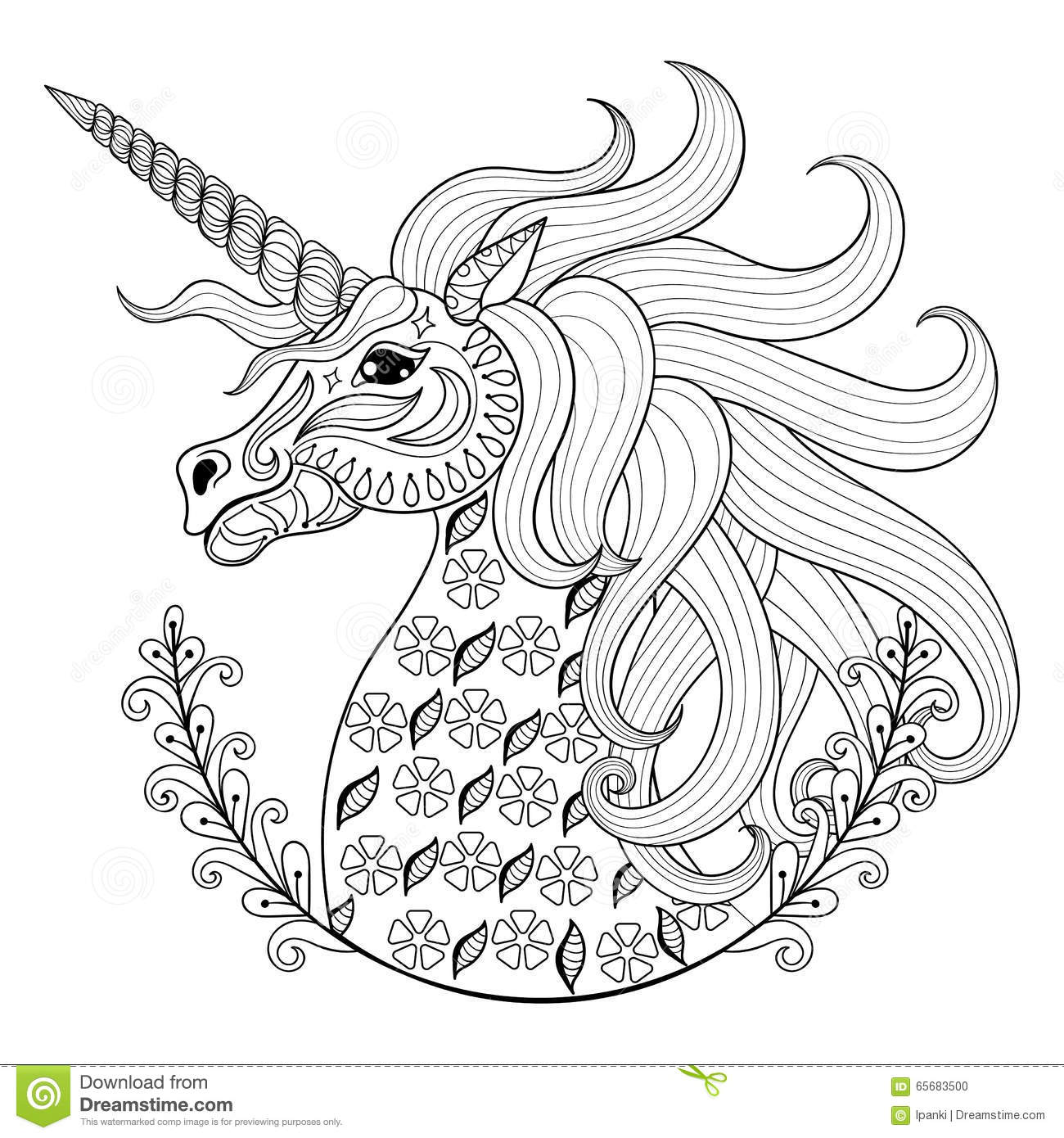Hand Drawing Unicorn For Adult Anti Stress Coloring Pages Artistic Fairy Tale Magic Animal In Zentangle Tribal Style Patterned Illustartion