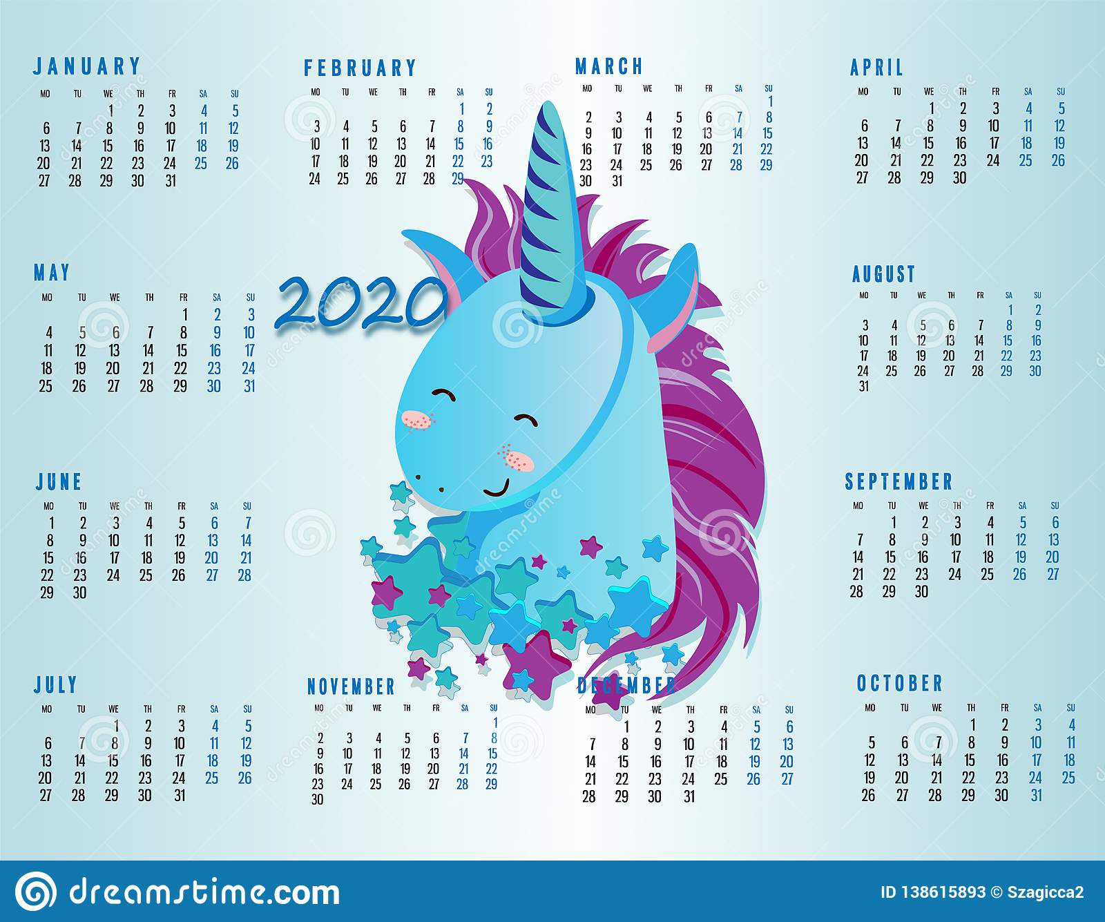 Unicorn Calendar 2020 Cute Colorful Monthly Calendar 2020 Year Concept With Unicorn