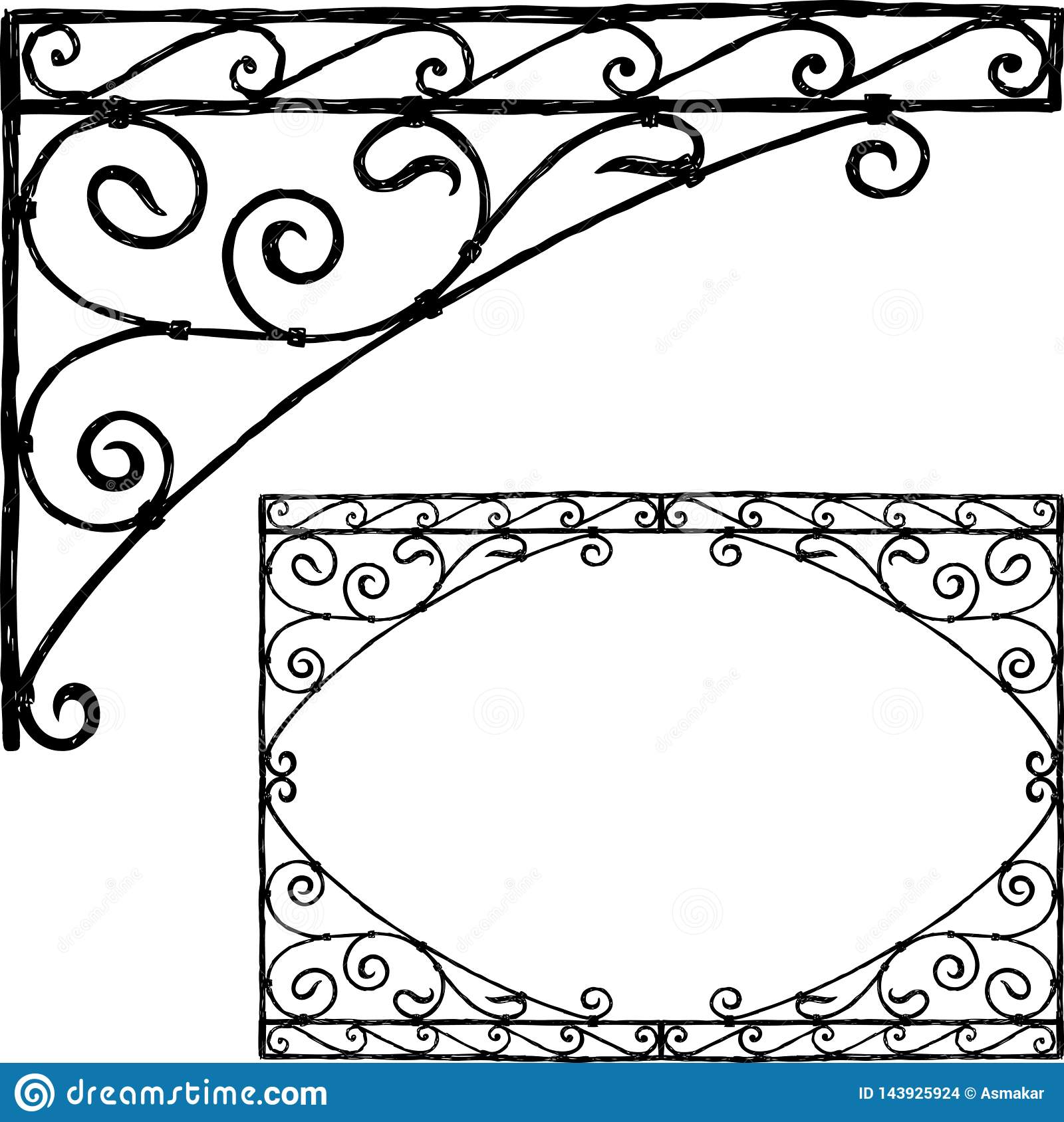 Hand drawing of a vintage architectural element
