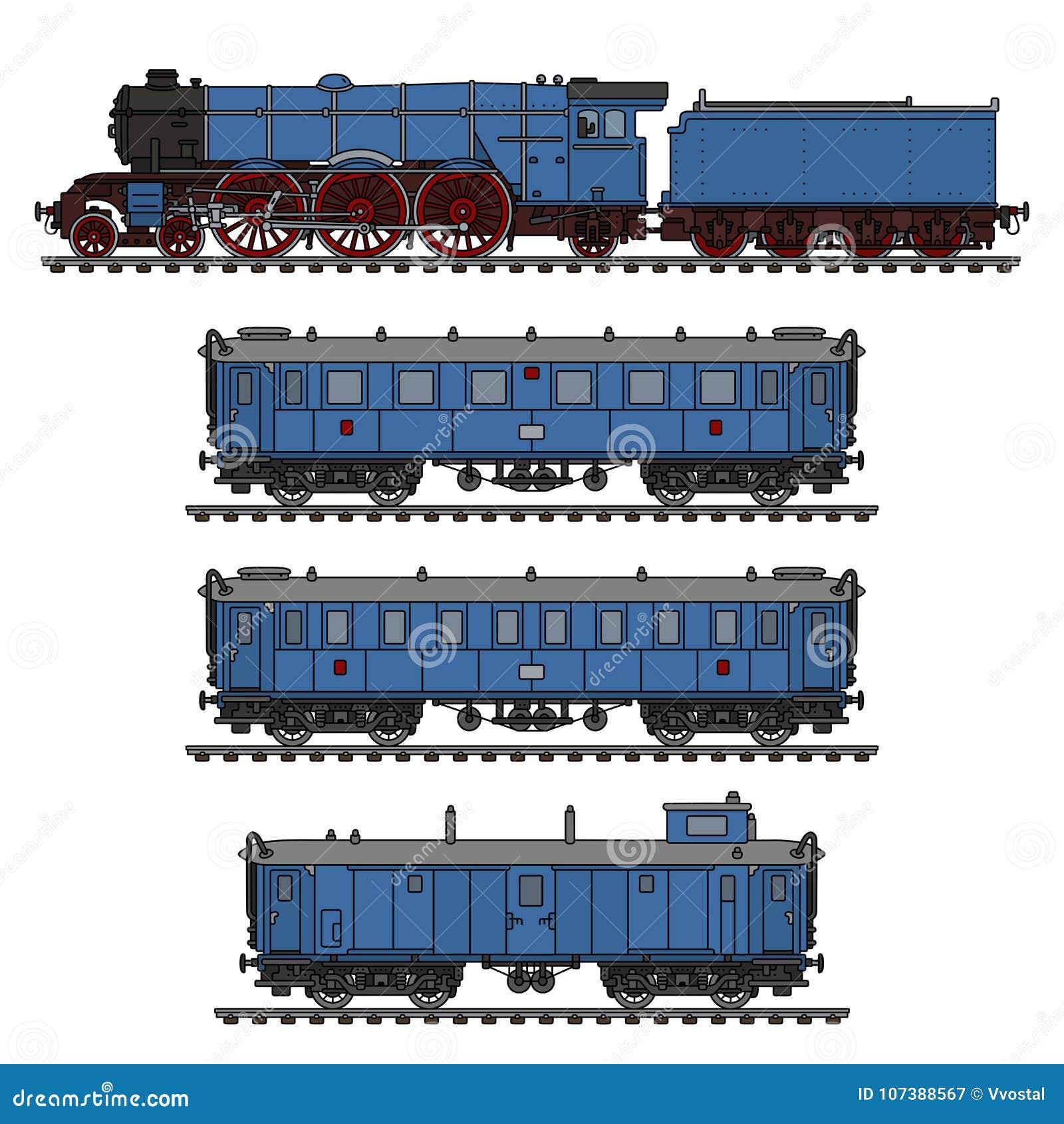 The vintage blue steam train