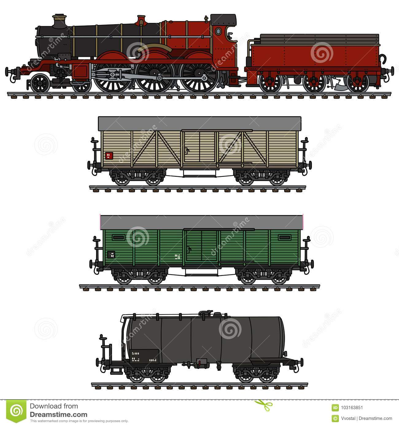 Vintage Freight Steam Train Stock Vector - Illustration of freight