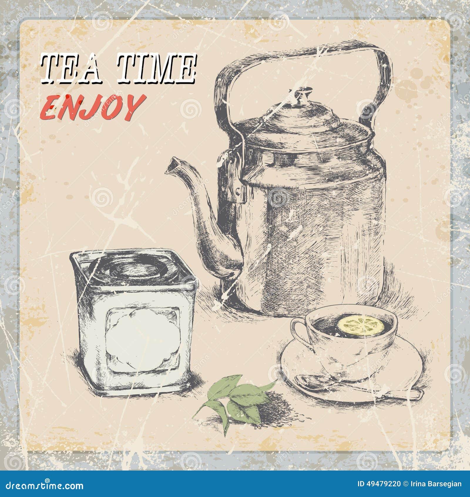 hand drawing of vintage tea illustration stock vector image 49479220. Black Bedroom Furniture Sets. Home Design Ideas