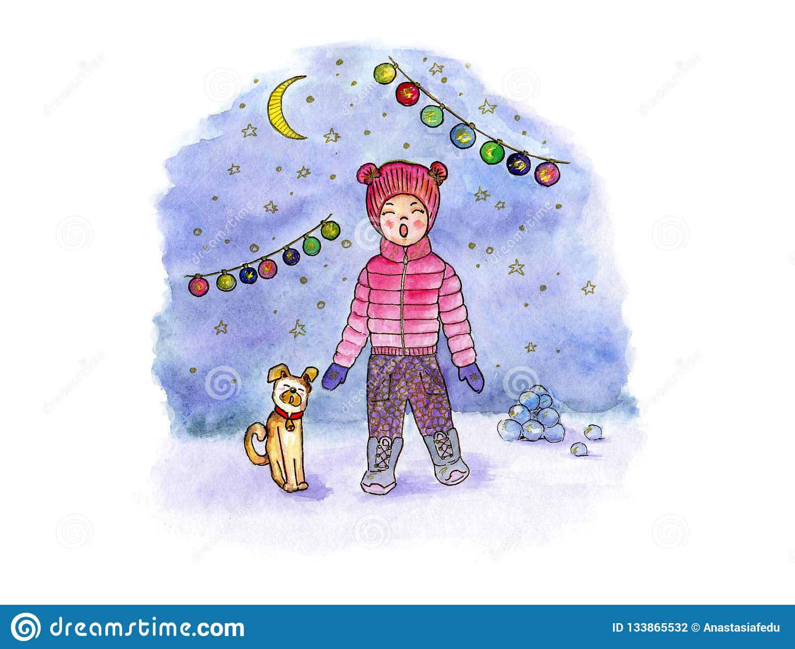 Hand drawing watercolor art with singing girl, dog, moon and garland against the background of a snowy evening.
