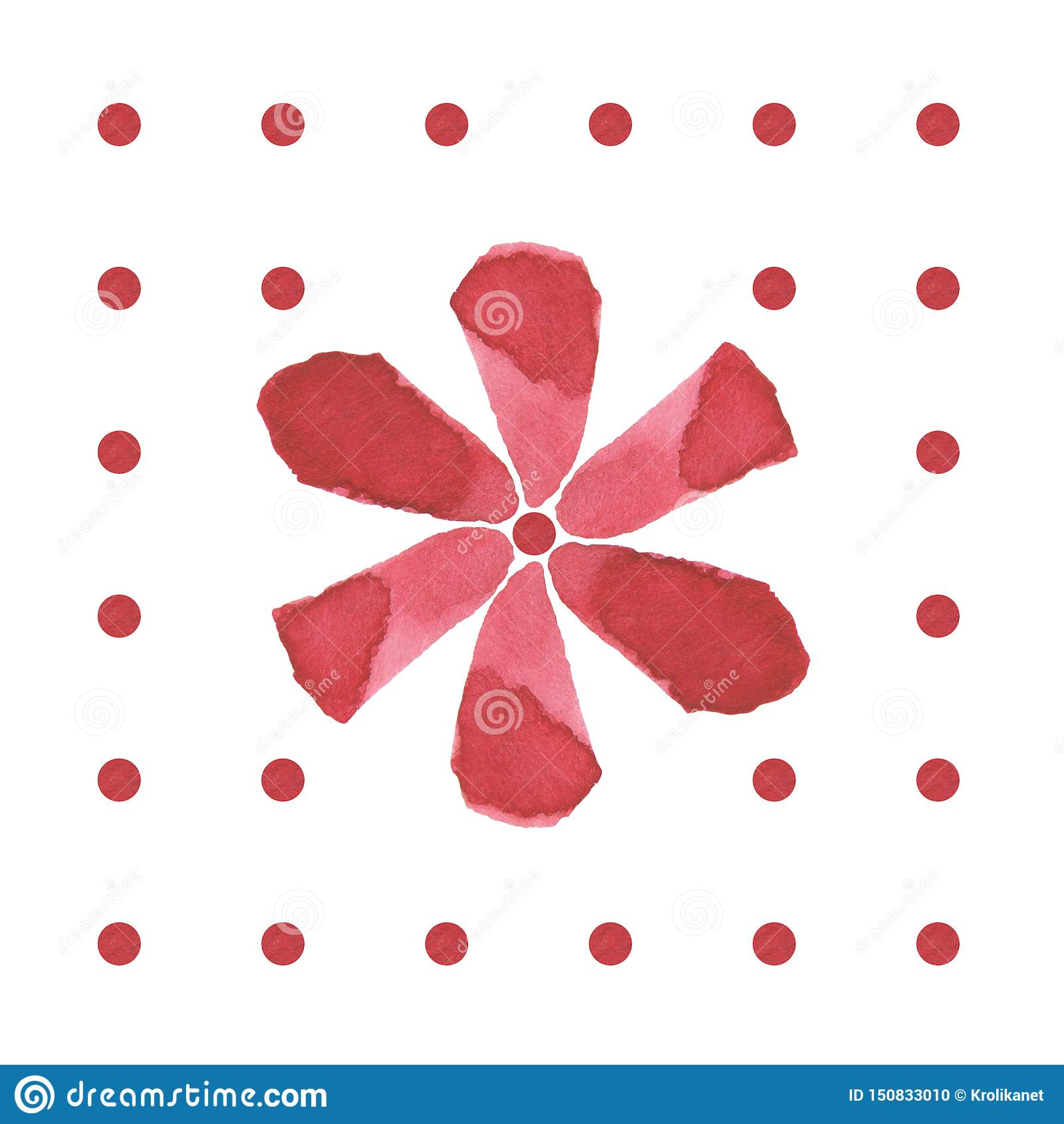 Hand drawing watercolor brush red flower pattern