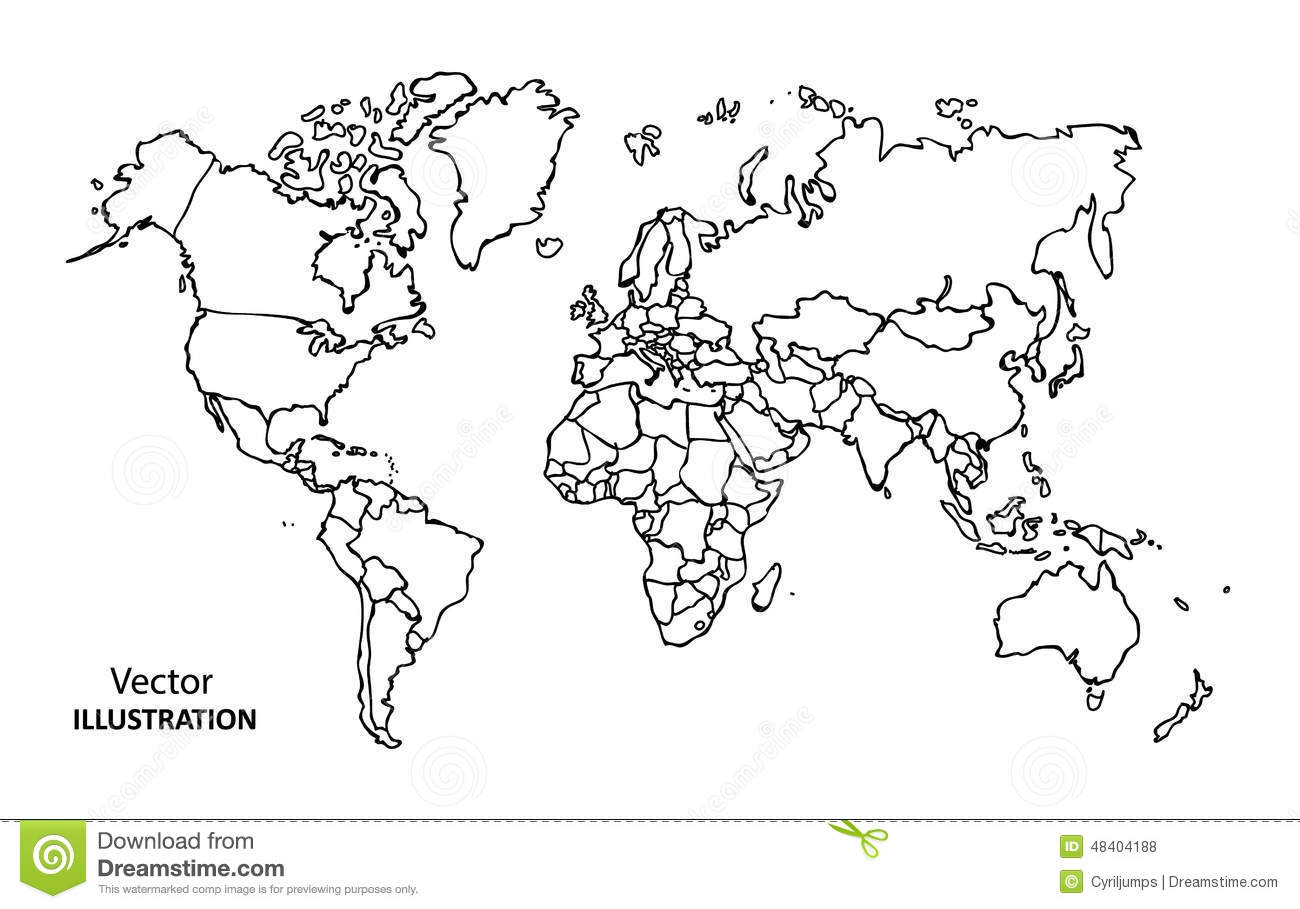 Icono De Ubicacion Icono De Ubicacion Carta Lápiz Png Y: Hand Drawing World Map With Countries Stock Vector