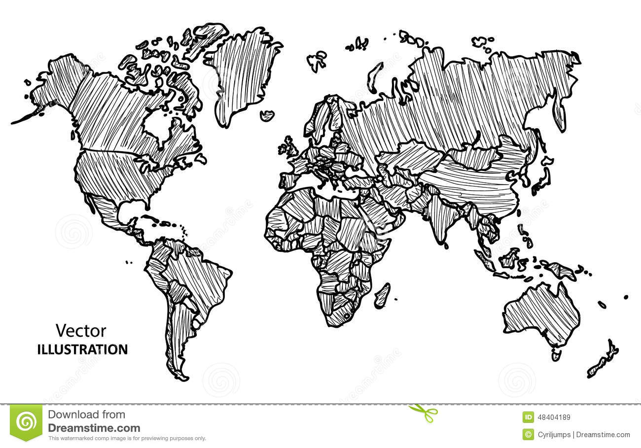 Hand Drawing World Map With Countries Stock Vector - Illustration of ...
