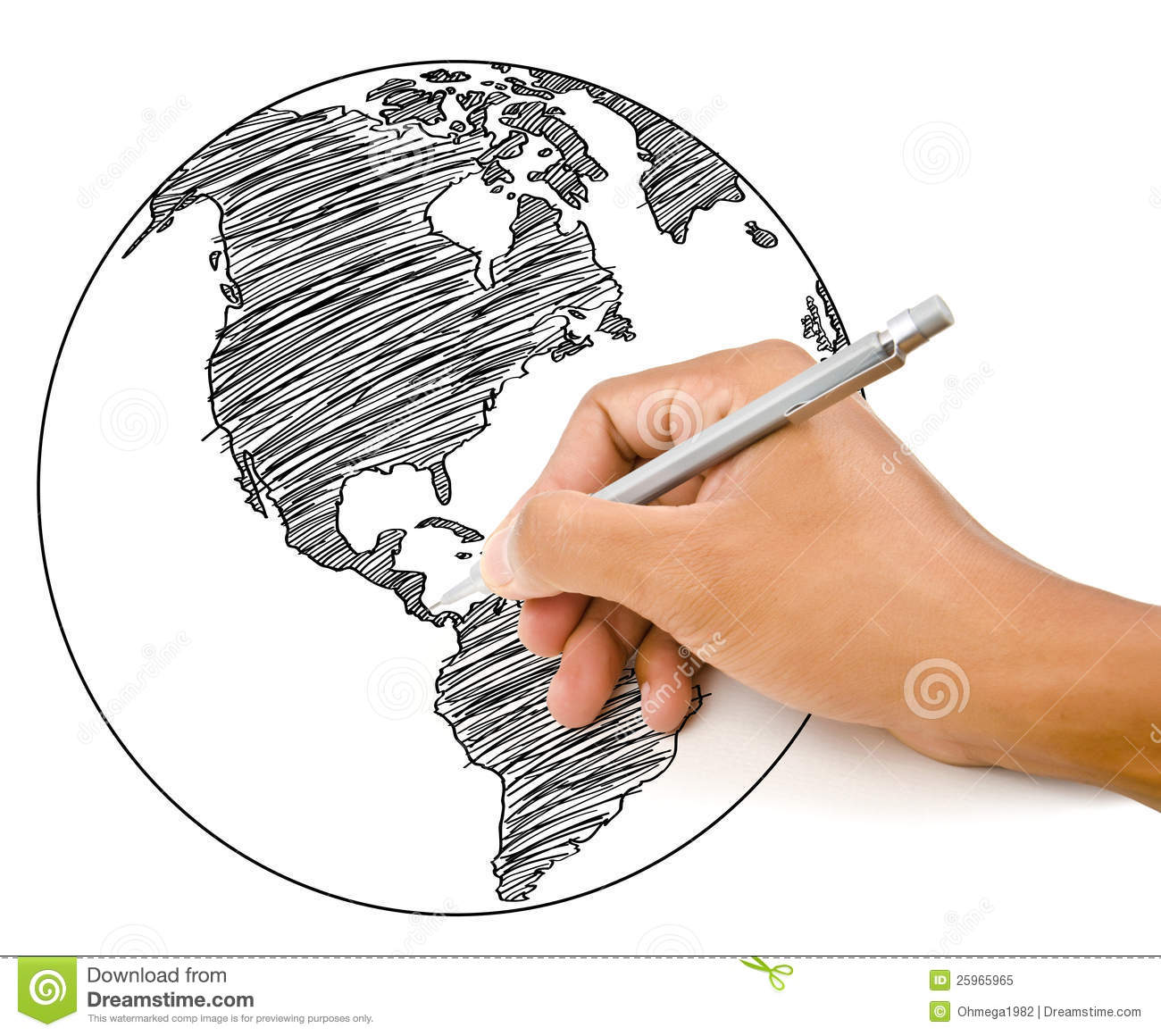 Hand drawing world map globe line illustration 25965965 megapixl gumiabroncs Gallery