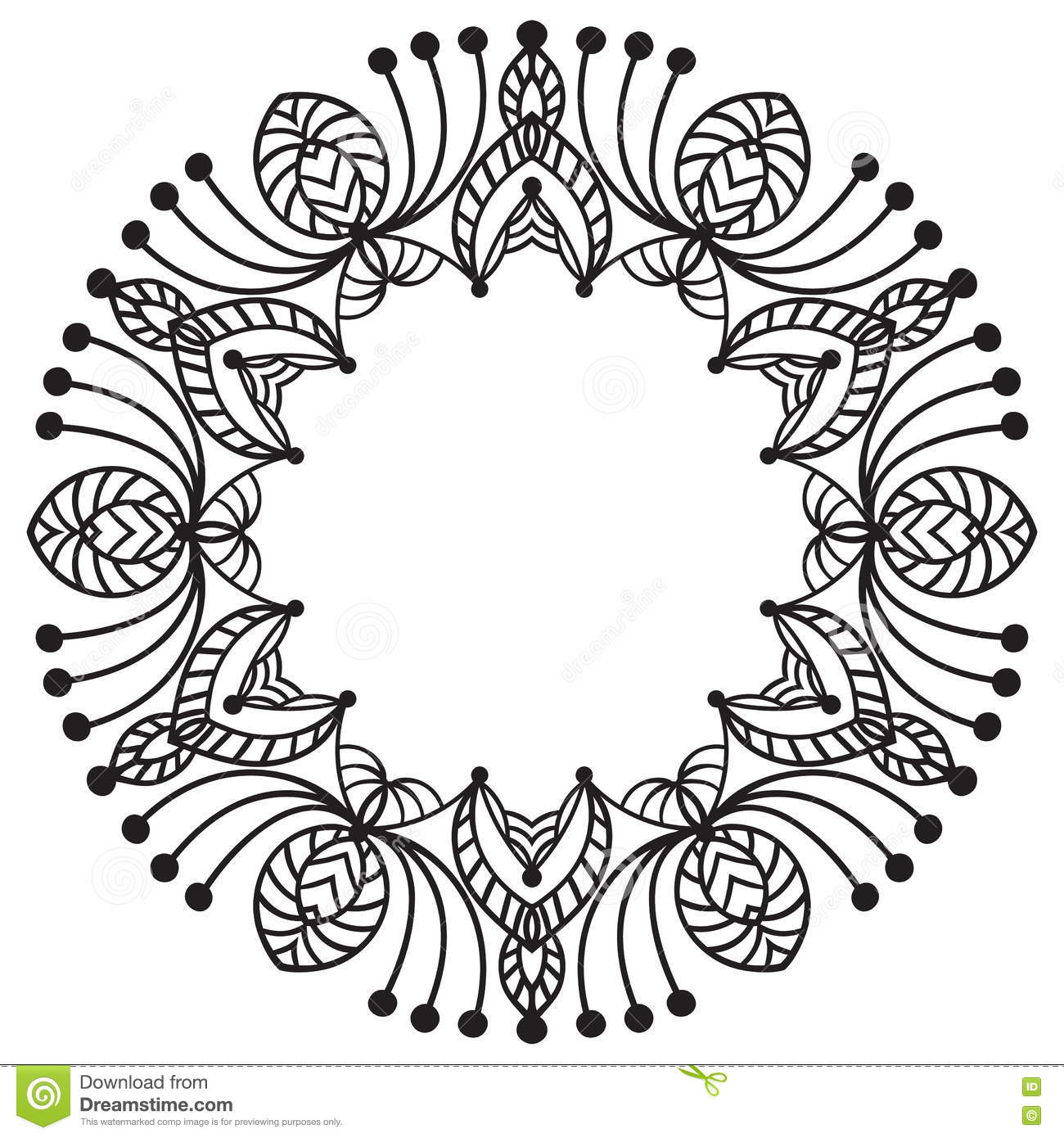 Hand Drawing Zentangle Frame. Black And White. Flower Mandala. Stock ...