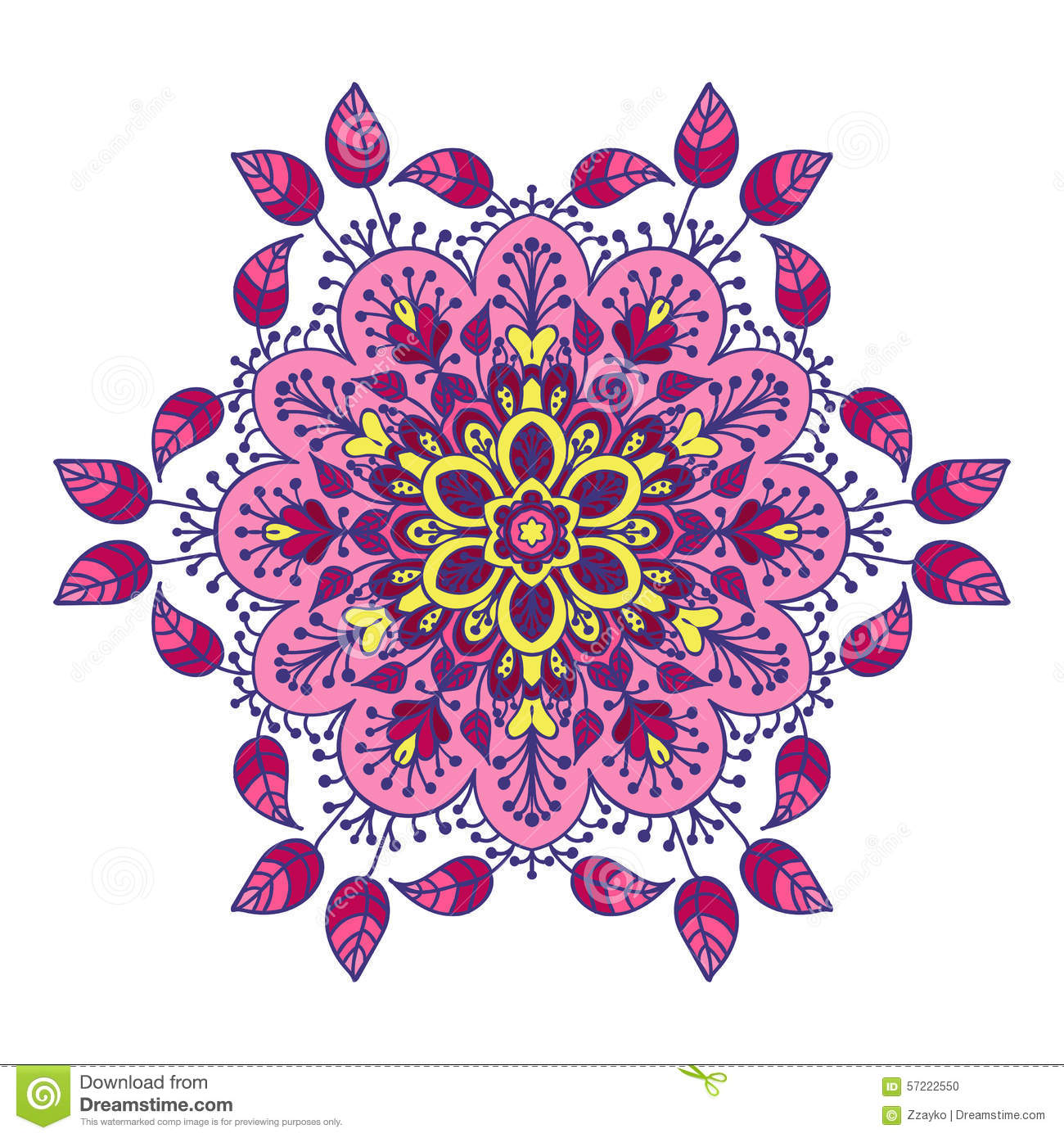 Download Hand Drawing Zentangle Mandala Element In Different Colors Stock Illustration
