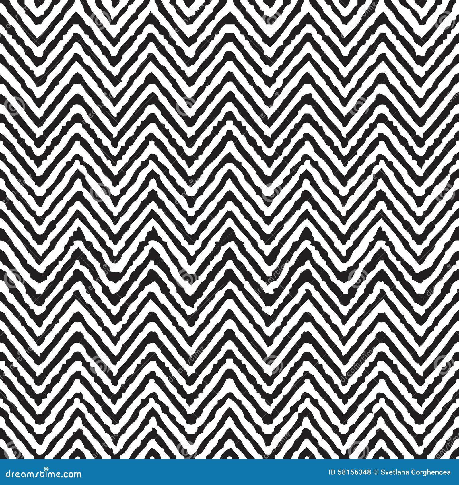 Hand Drawing Zigzag Geometrical Ethnic Pattern Seamless