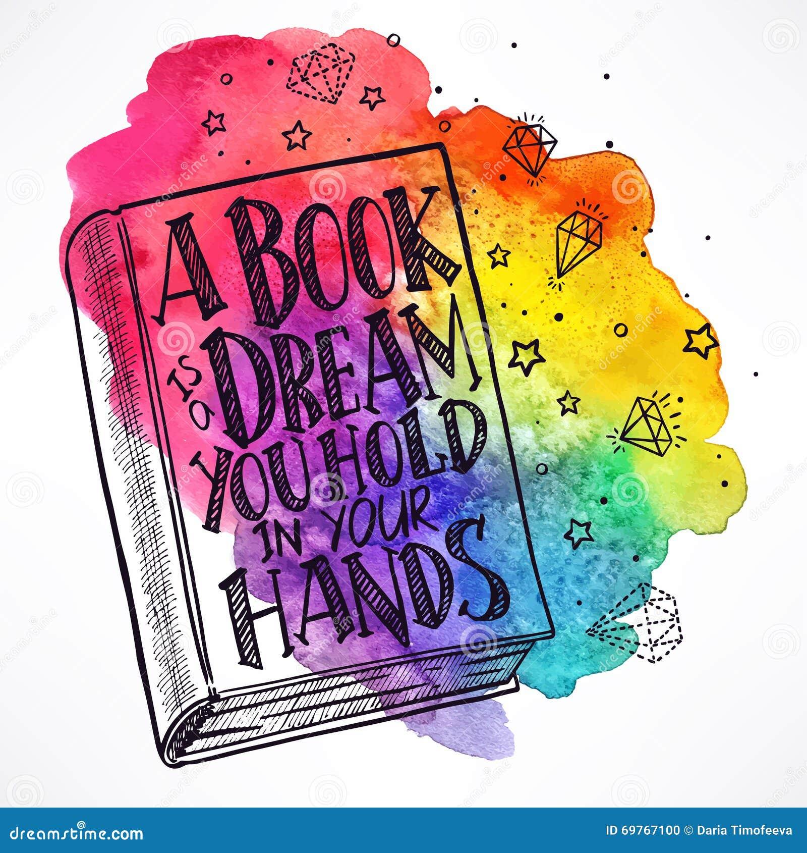Hand-drawn βιβλίο σε ένα υπόβαθρο watercolor