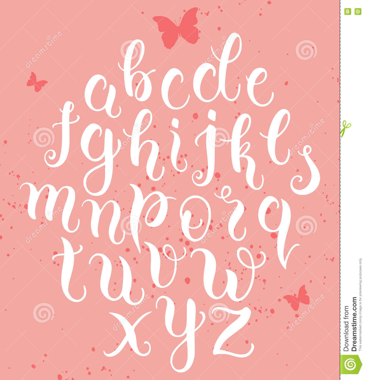 hand drawn abc letters modern calligraphy alphabet stock vector