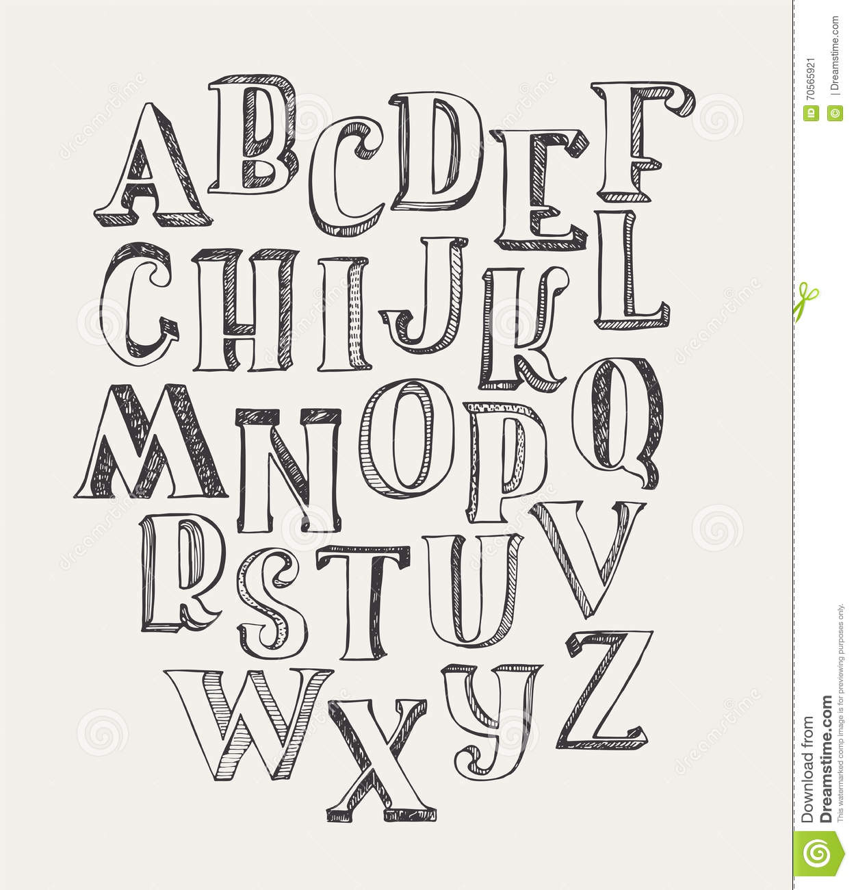 Hand Drawn ABC Letters On White Background Ink 3d Font