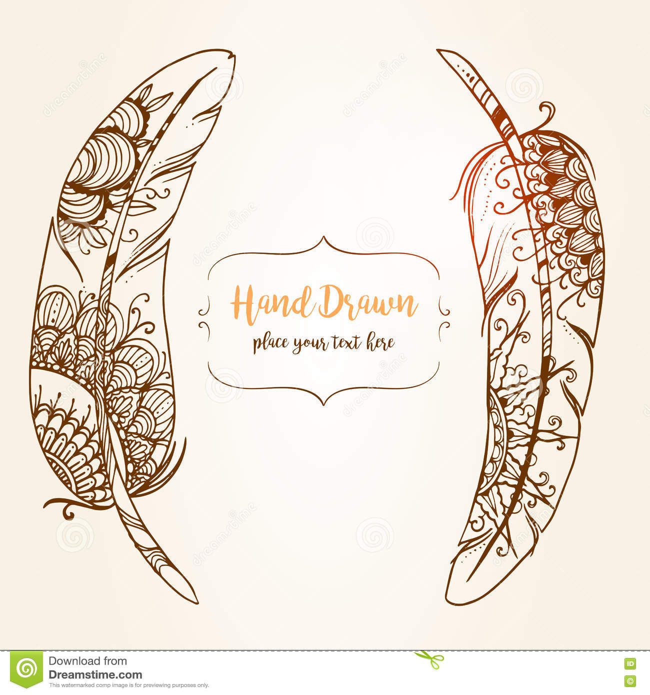 Hand-drawn Abstract Feather With Ethnic Ornaments Doodle