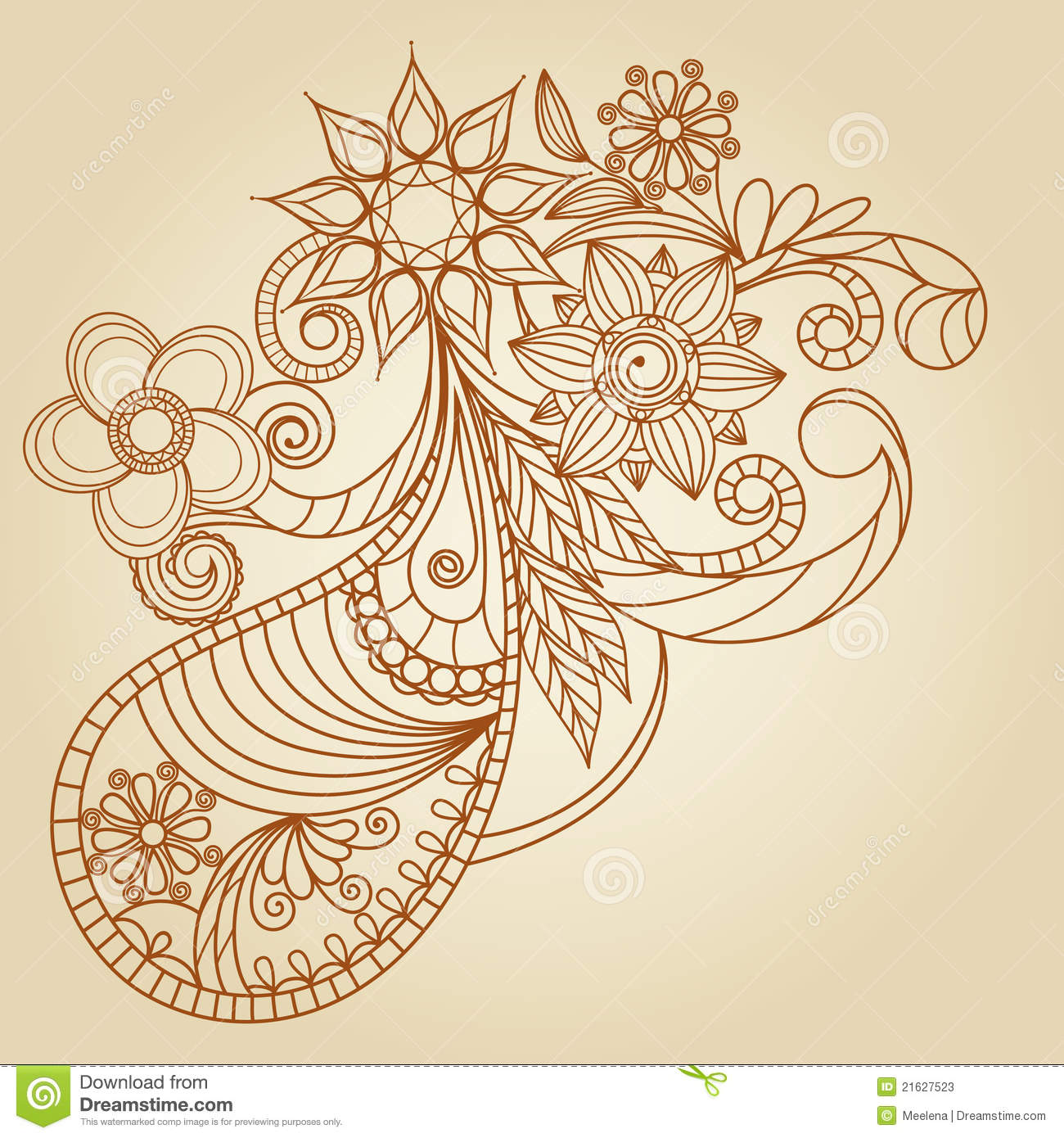 hand drawn abstract henna mehndi stock vector image 21627523. Black Bedroom Furniture Sets. Home Design Ideas