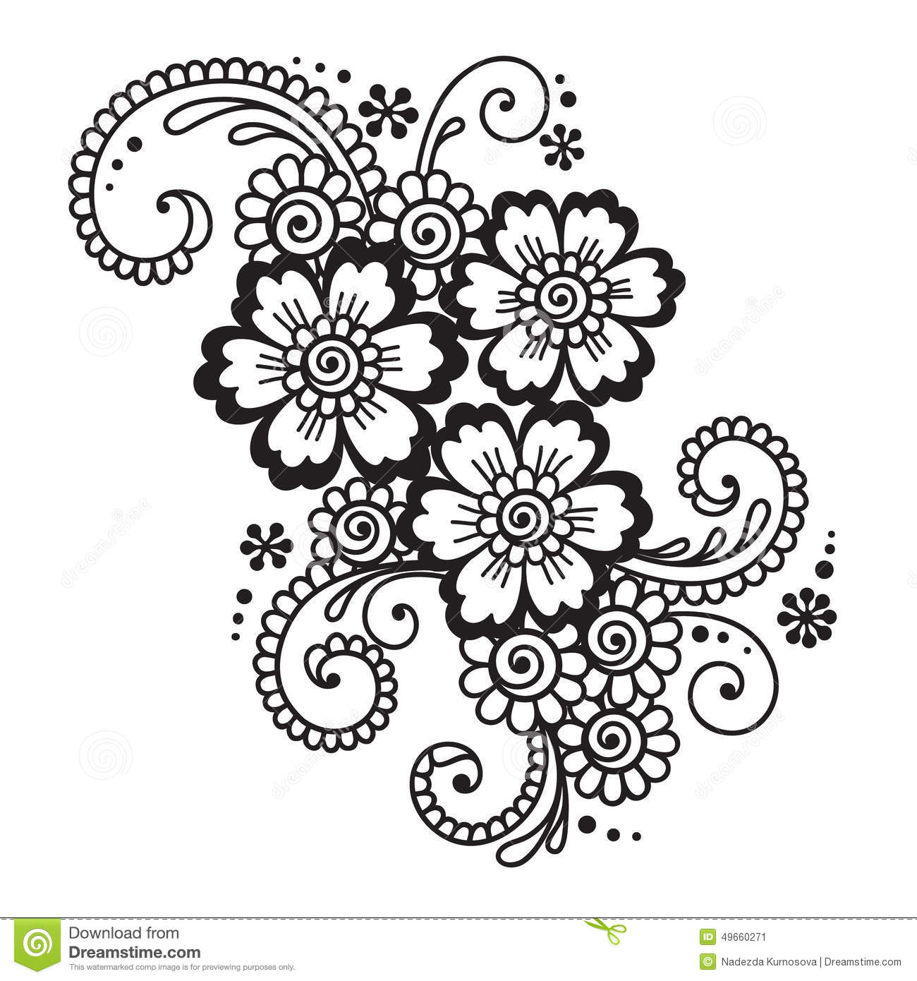 Hand Drawn Abstract Henna Mehndi Flower Ornament Stock Vector Image