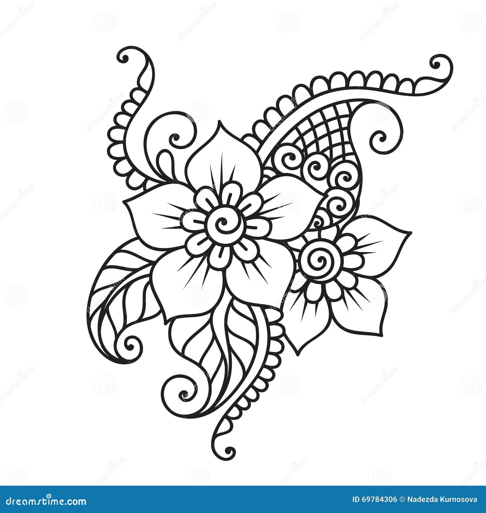Hand Drawn Abstract Henna Mehndi Flower Ornament Stock Vector