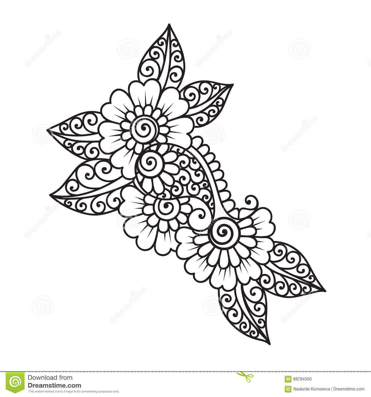 hand drawn abstract henna mehndi flower ornament stock vector
