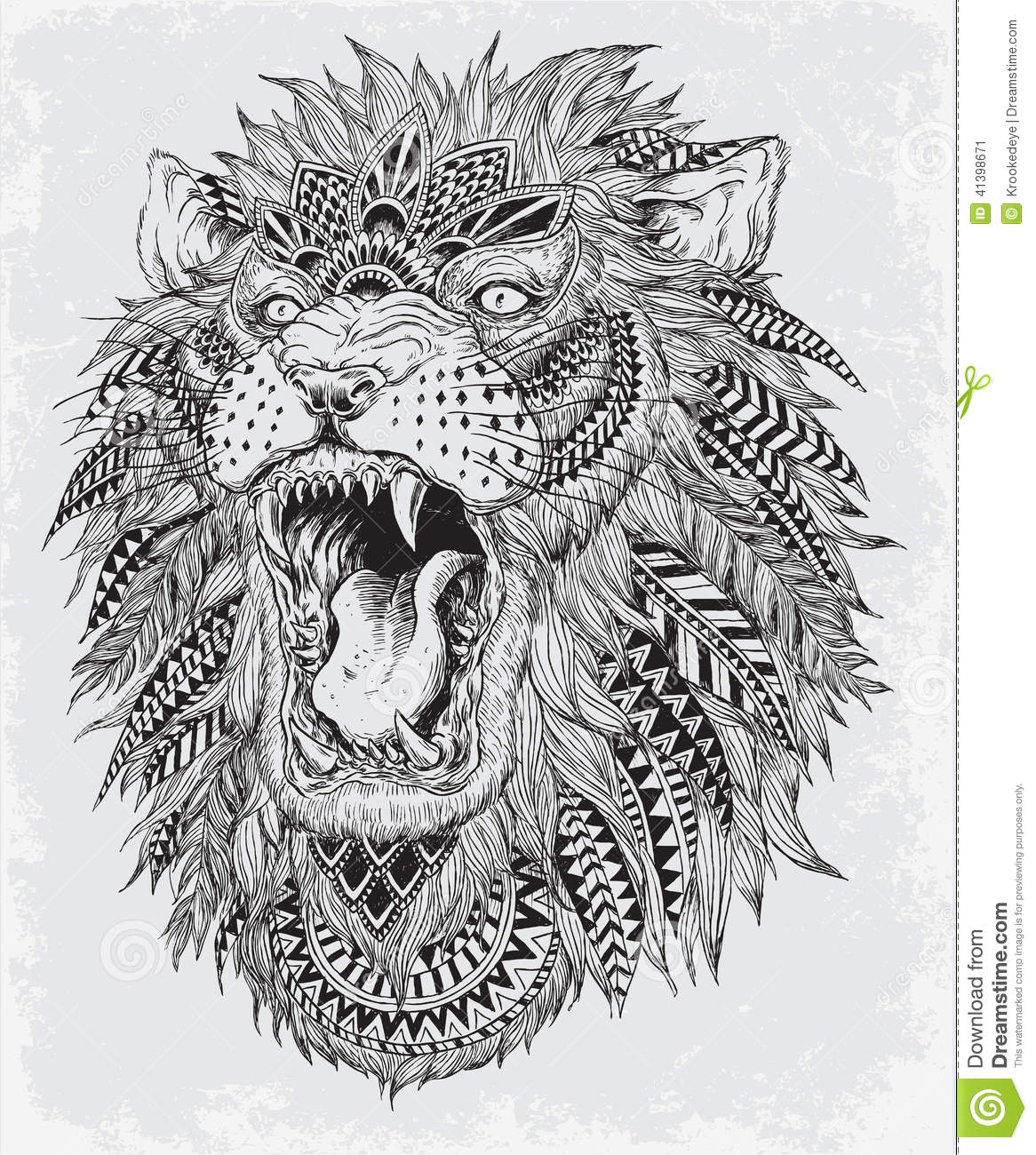 Hand Drawn Abstract Lion Vector Illustration Stock Vector