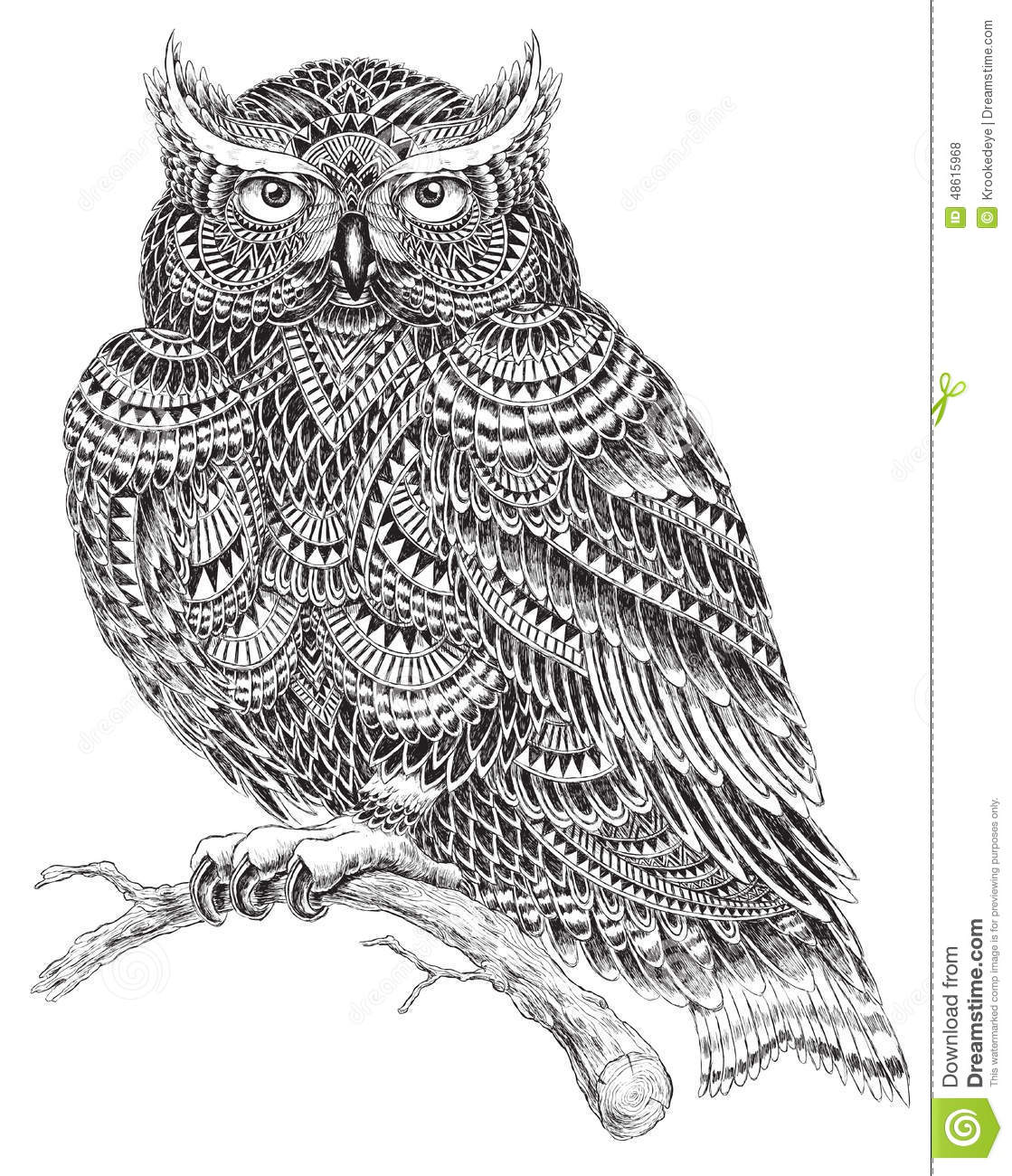 hand drawn abstract pattern owl illustration stock vector