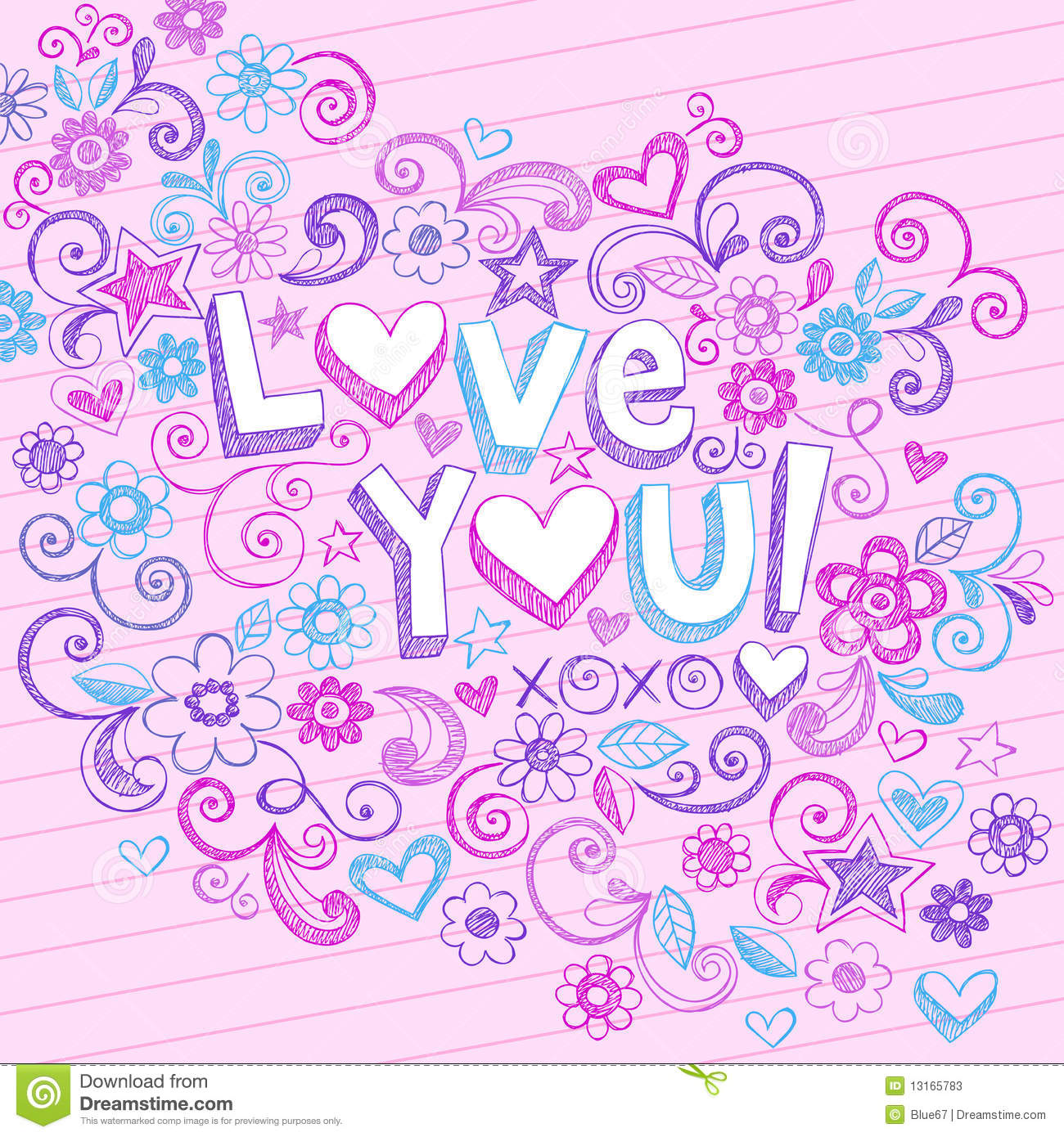 Hand-Drawn Abstract Sketchy Love You Doodles Stock Photos - Image ...