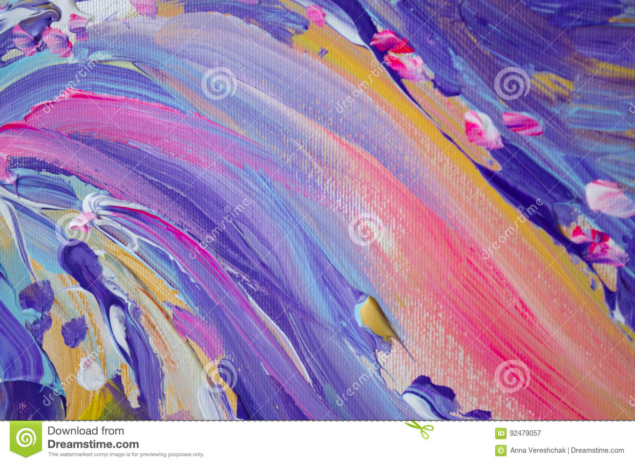 Hand drawn acrylic painting. Abstract art background. Acrylic painting on canvas. Color texture. Fragment of artwork. Brushstrokes