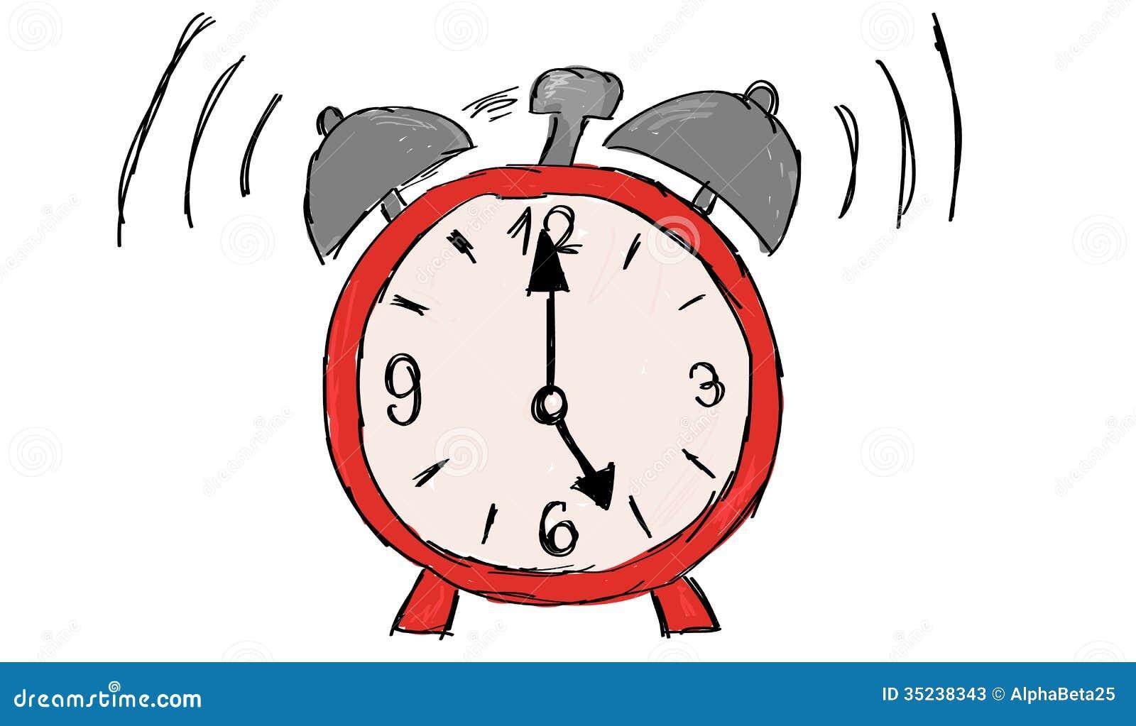 Hand drawn alarm clock stock vector. Illustration of ...
