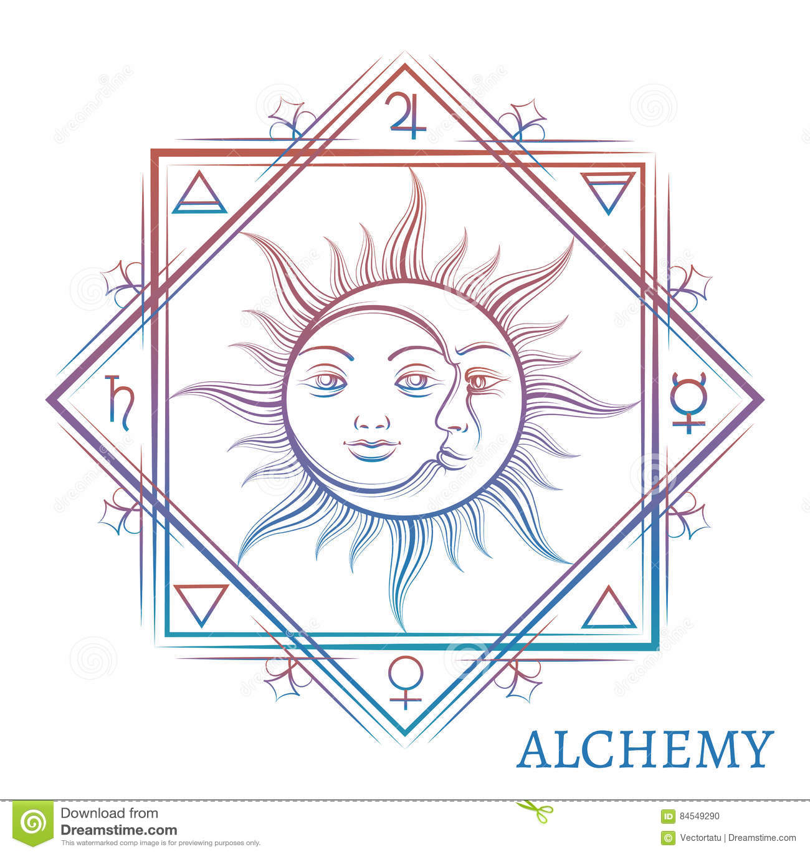 Hand Drawn Alchemy Symbol Stock Vector Illustration Of Medieval