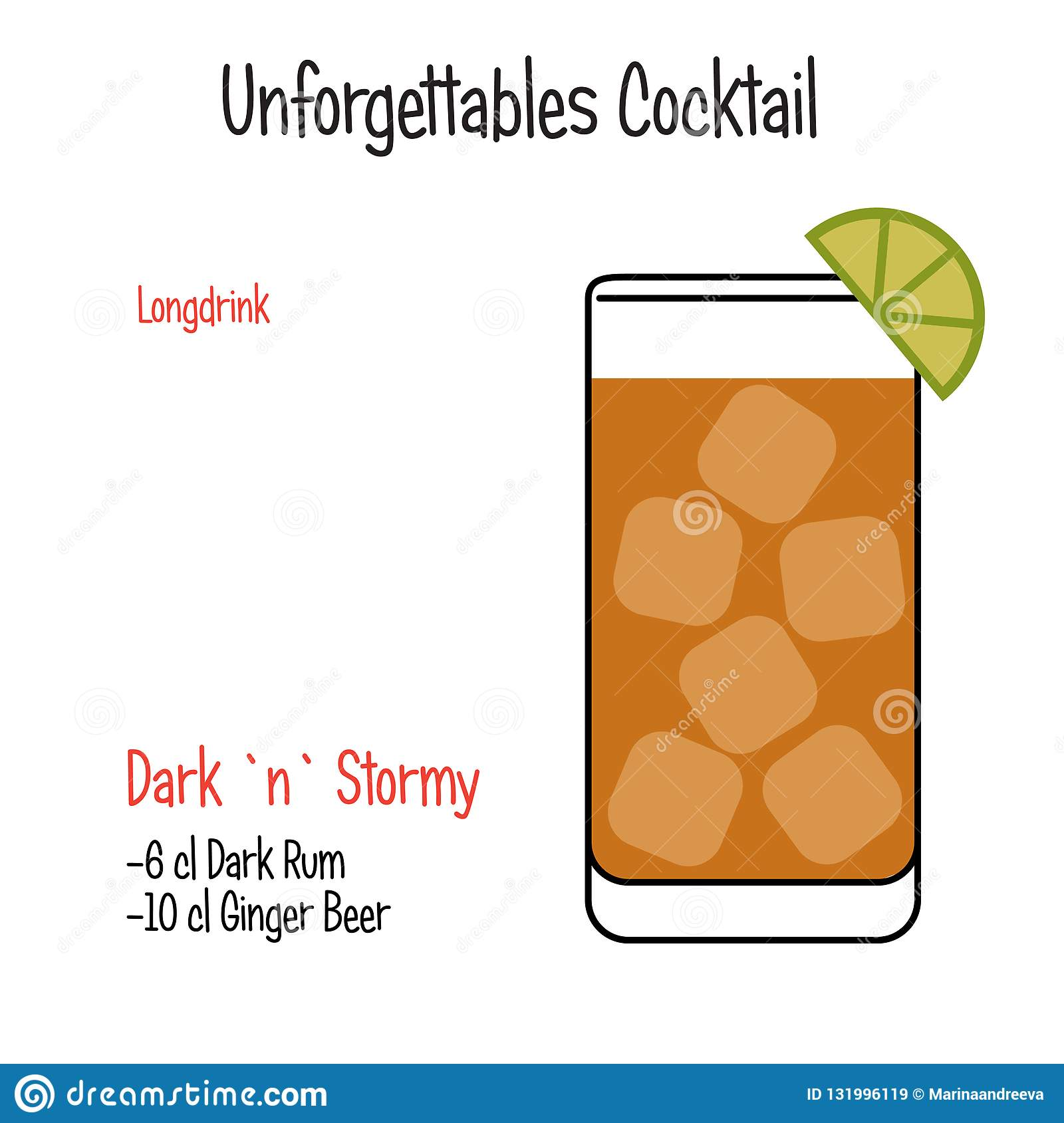 Dark and Stormy alcoholic cocktail vector illustration recipe isolated