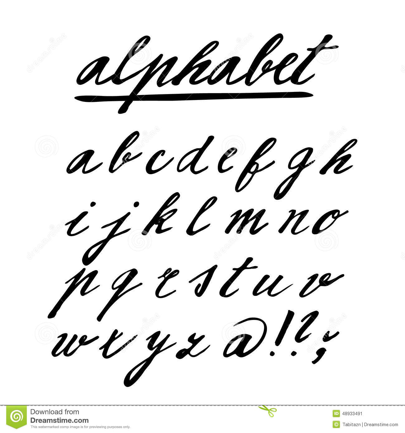 Hand drawn alphabet, font, isolated letters written with marker or ink ...