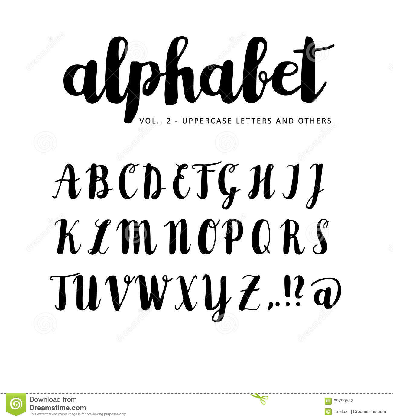 Hand Drawn Alphabet Font Letters Written With Marker Ink