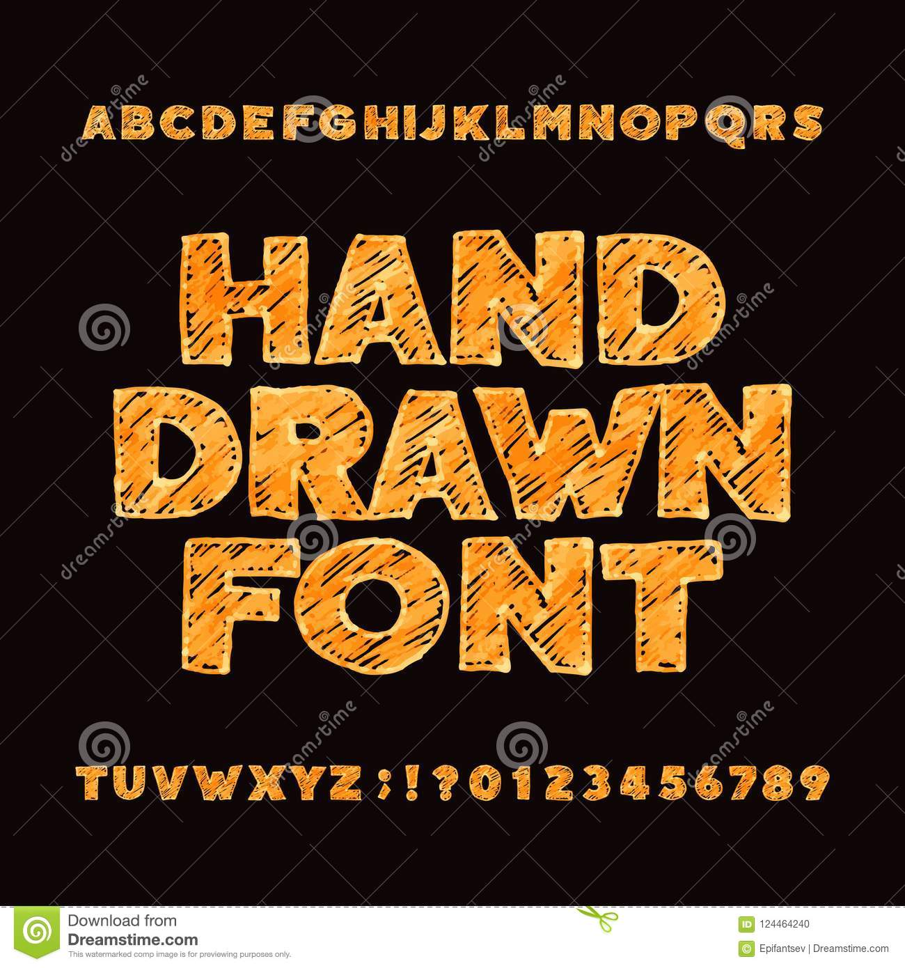 Hand drawn alphabet font. Uppercase messy sketch letters and numbers.