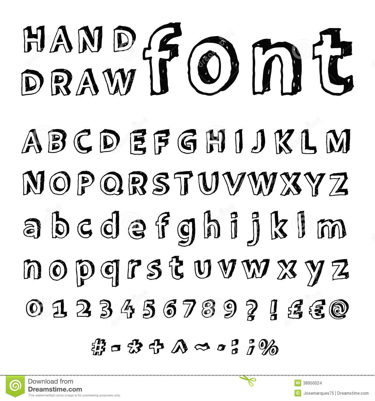 Hand Drawn Alphabet Handwritten Font Stock Vector Image
