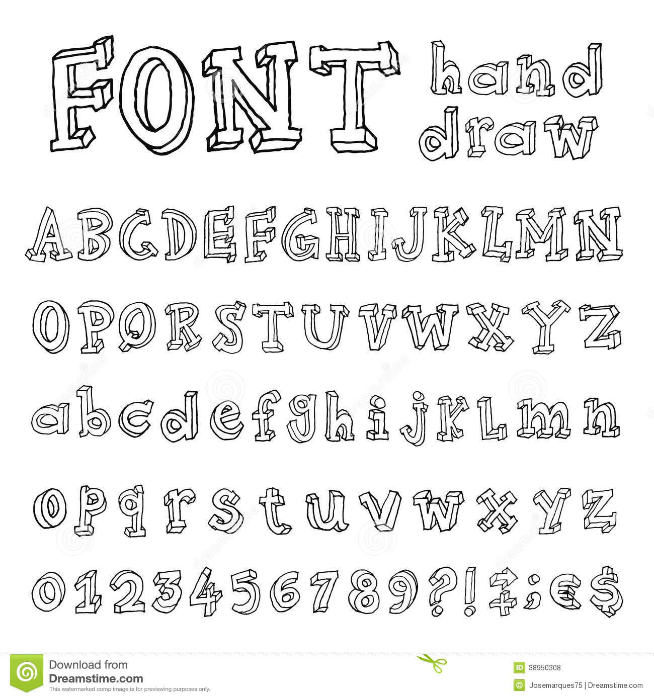Hand Drawn Alphabet Handwritten Font Stock Vector