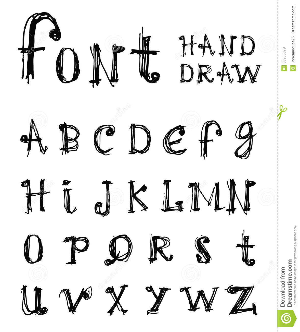 Hand Drawn Alphabet Handwritten Font