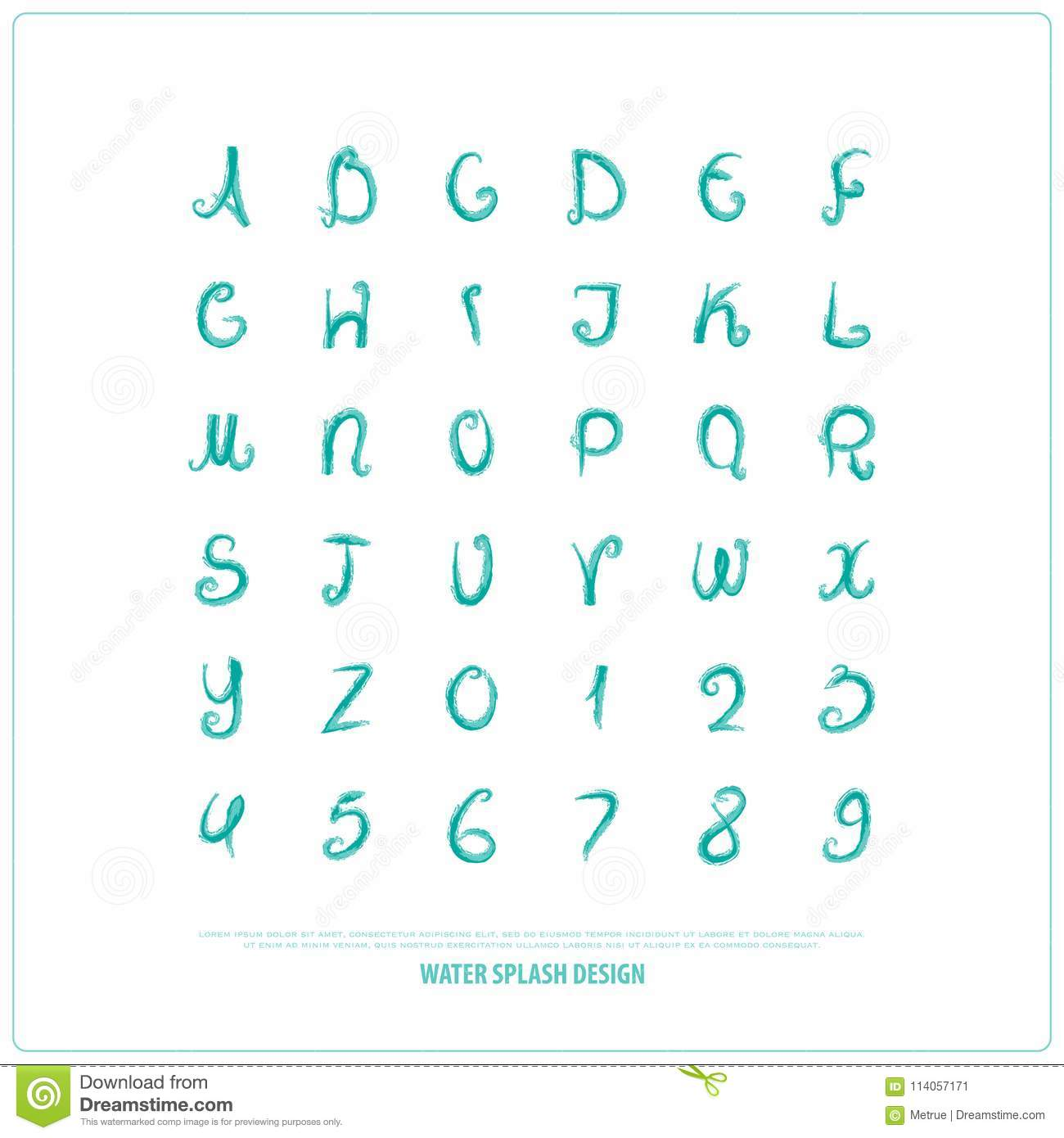 hand drawn alphabet letters and numbers. vector watercolor, font