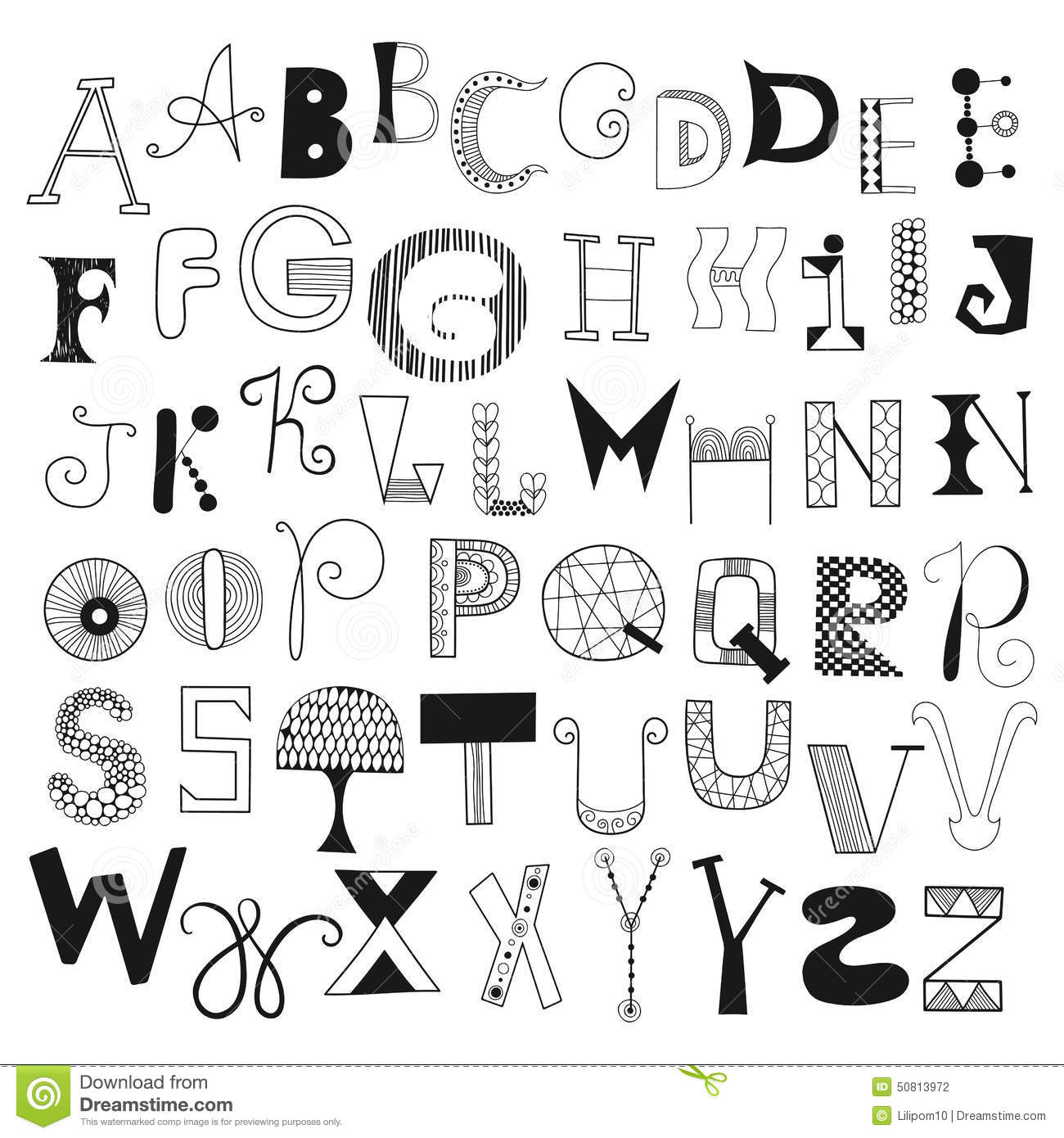 Hand drawn alphabet letters from a to z set of doodle letters for hand drawn alphabet letters from a to z set of doodle letters for design thecheapjerseys Choice Image