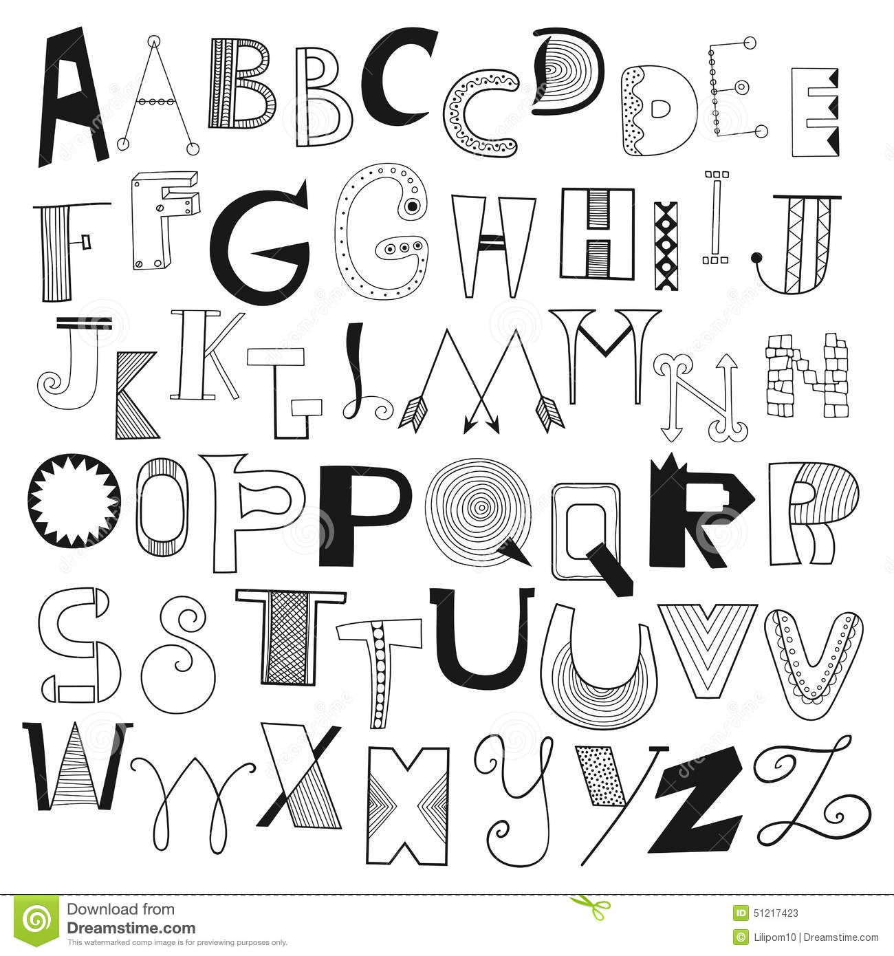 hand drawn alphabet letters from a to z set of doodle letters stock