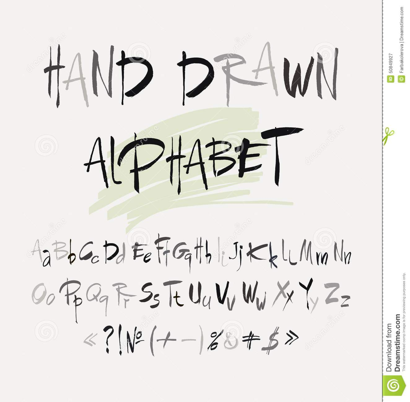 Hand drawn alphabet in retro style abc for your design letters of the written with a