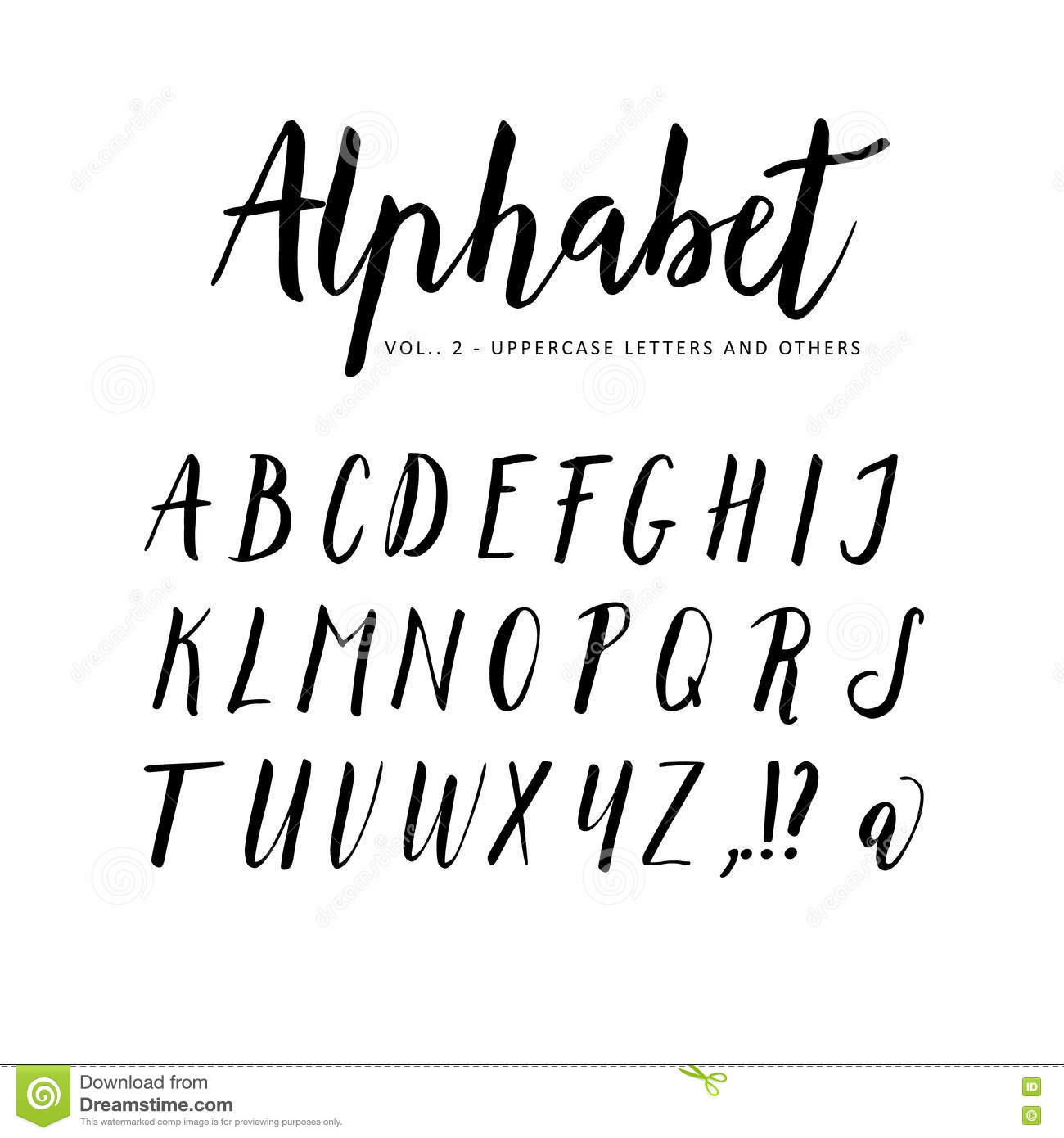 Hand Drawn Alphabet Script Brush Font Stock Vector