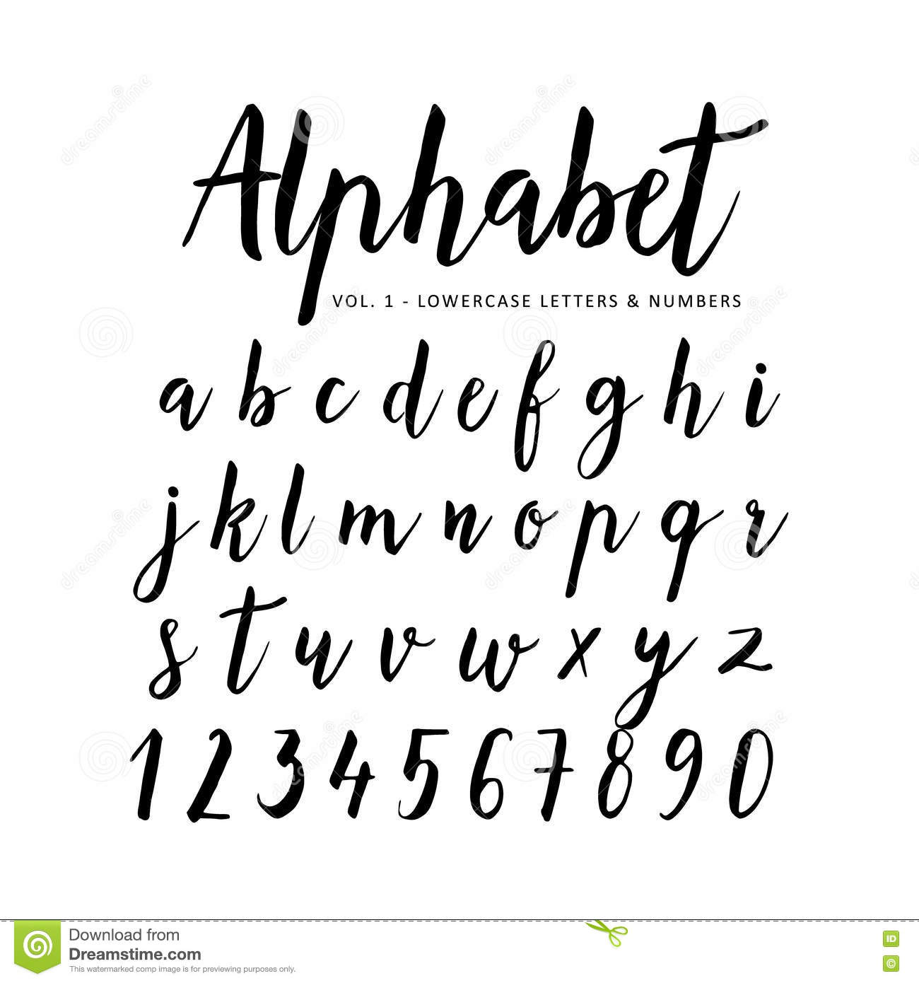 Download Hand Drawn Alphabet Script Font Brush Stock Vector