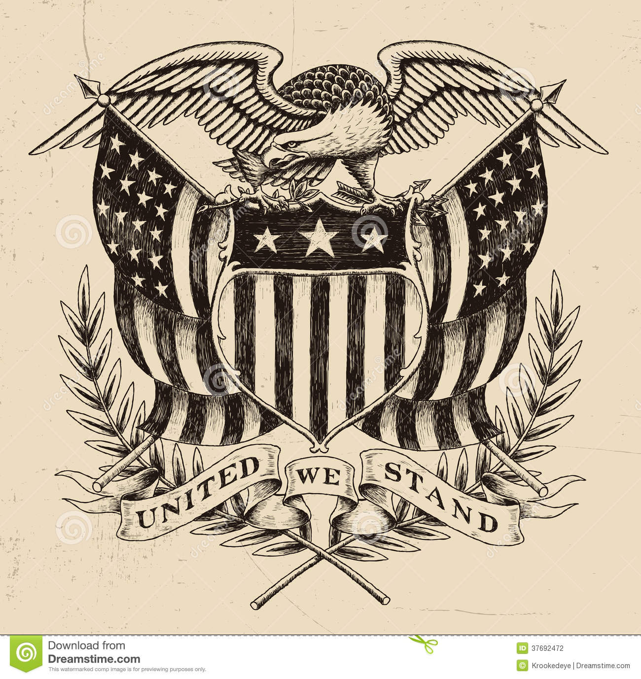 Download Hand Drawn American Eagle Linework Stock Vector